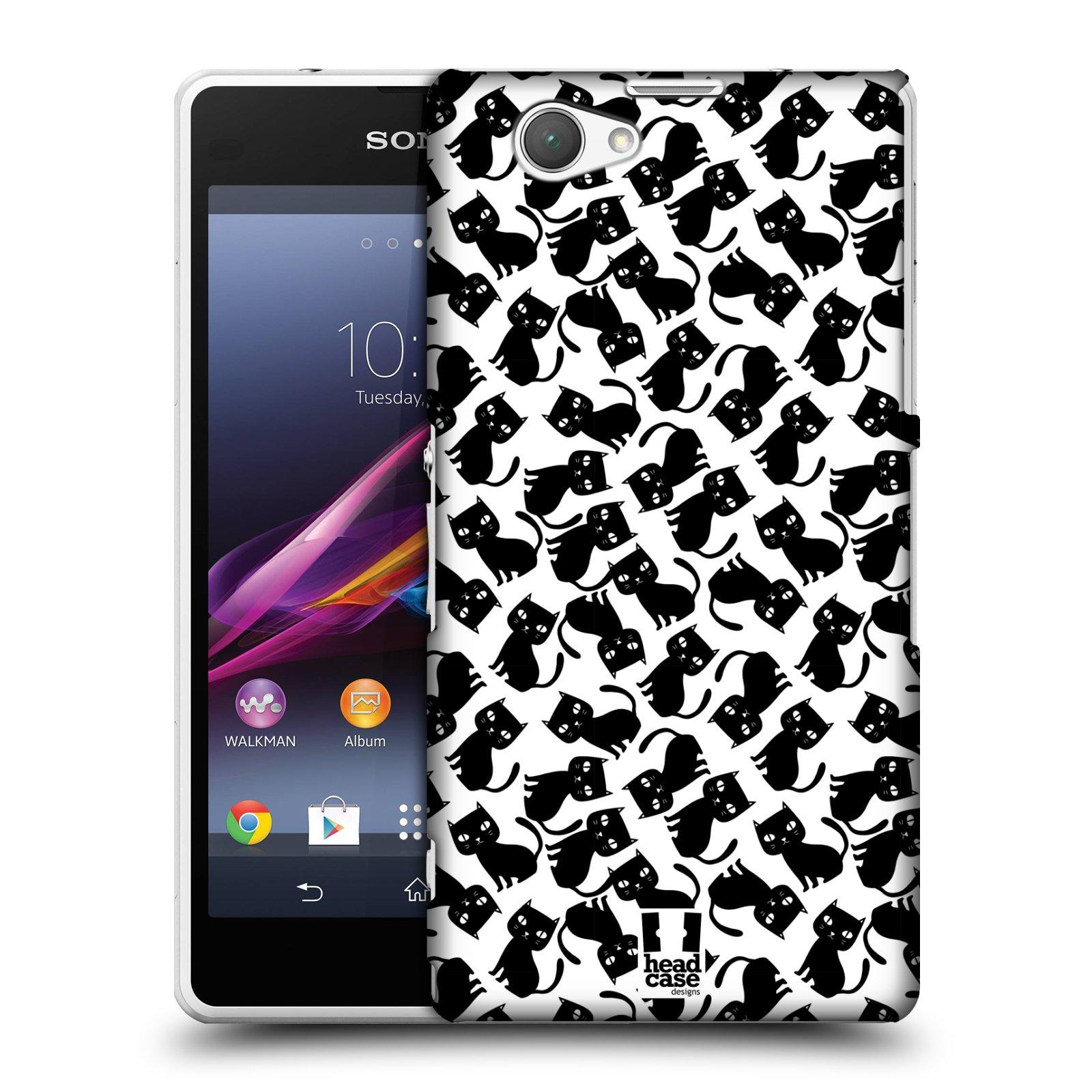 Plastové pouzdro na mobil Sony Xperia Z1 Compact D5503 HEAD CASE KOČKY Black Pattern (Kryt či obal na mobilní telefon Sony Xperia Z1 Compact )