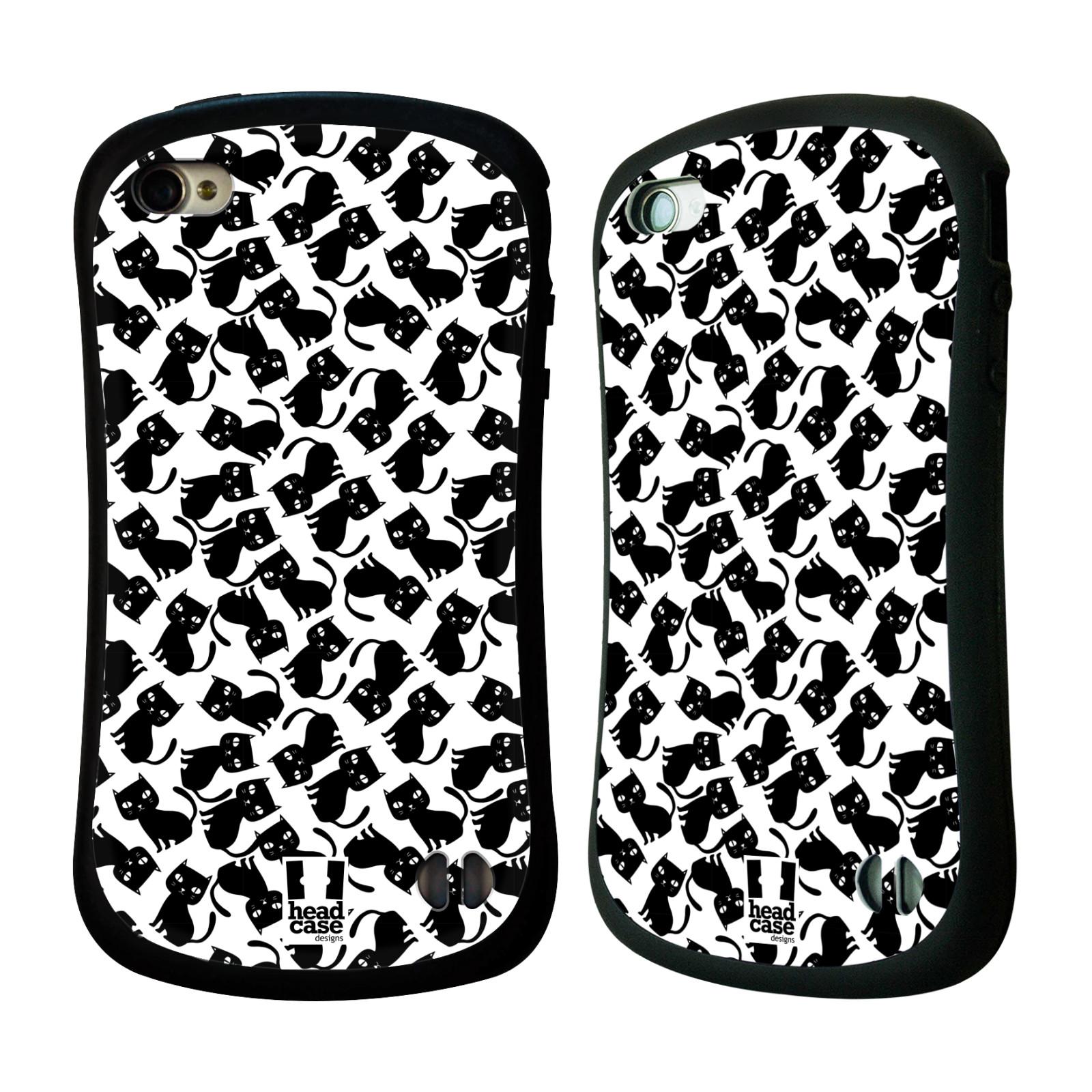 Nárazuvzdorné pouzdro na mobil Apple iPhone 4 a 4S HEAD CASE KOČKY Black Pattern (Odolný nárazuvzdorný silikonový kryt či obal na mobilní telefon Apple iPhone 4 a 4S)
