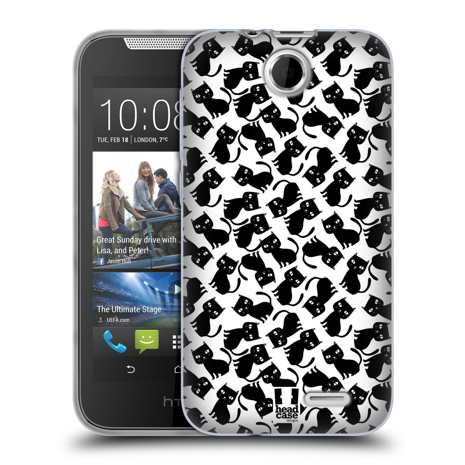 Silikonové pouzdro na mobil HTC Desire 310 HEAD CASE KOČKY Black Pattern (Silikonový kryt či obal na mobilní telefon HTC Desire 310)