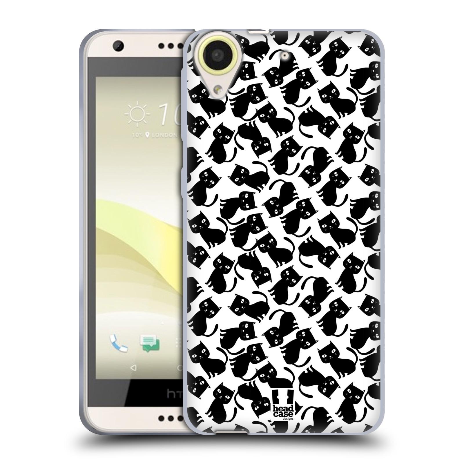 Silikonové pouzdro na mobil HTC Desire 650 HEAD CASE KOČKY Black Pattern (Silikonový kryt či obal na mobilní telefon HTC Desire 650)