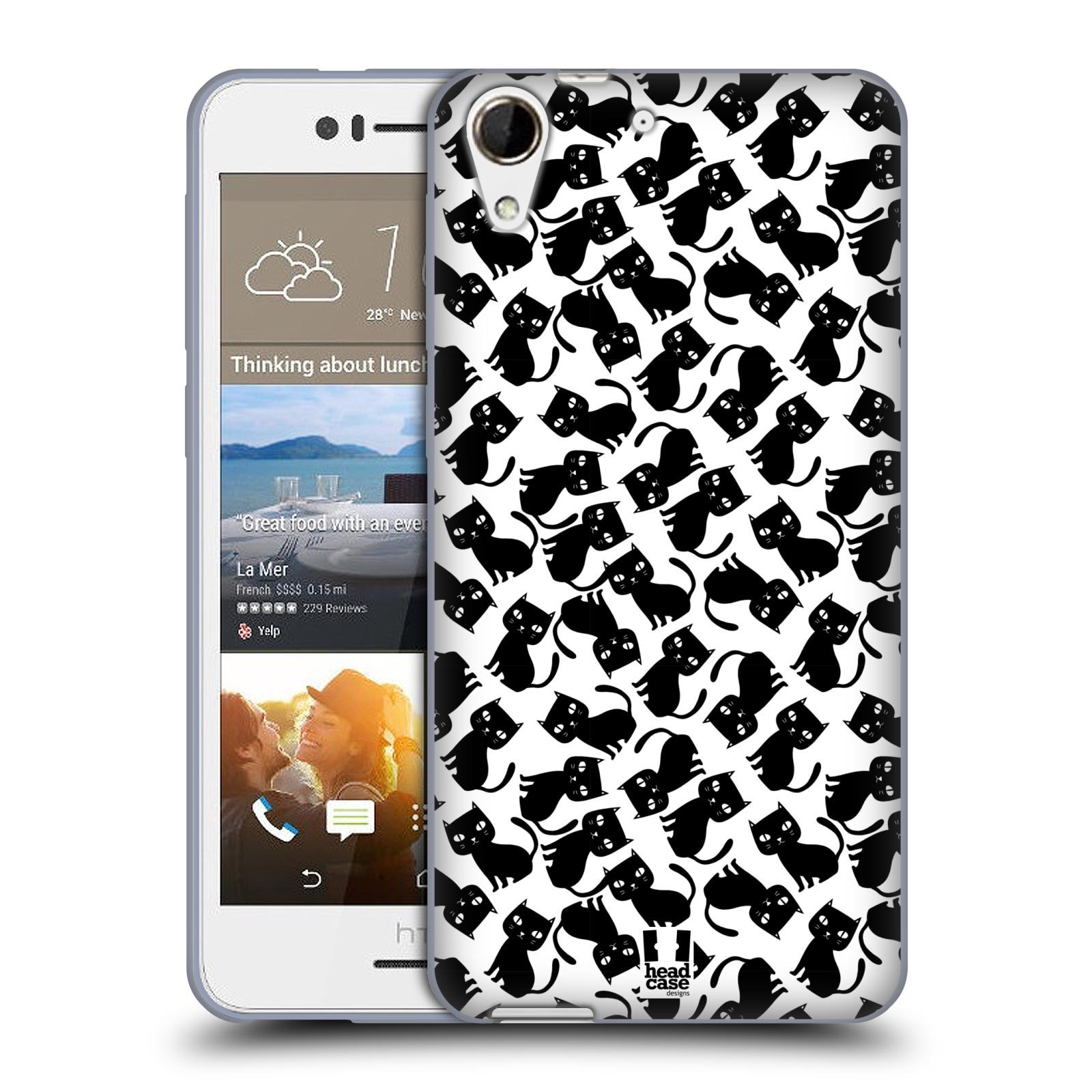 Silikonové pouzdro na mobil HTC Desire 728G Dual SIM HEAD CASE KOČKY Black Pattern (Silikonový kryt či obal na mobilní telefon HTC Desire 728 G Dual SIM)