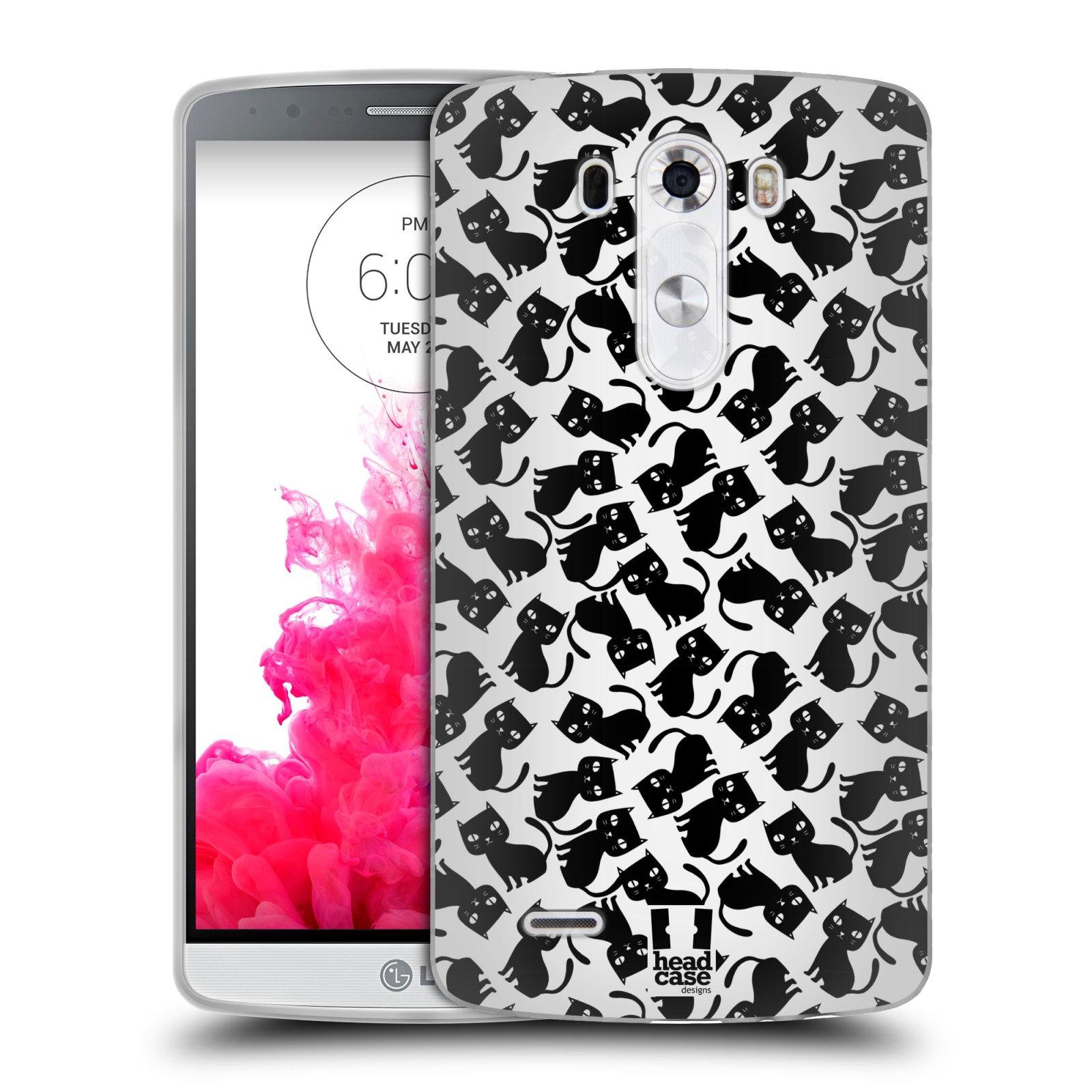 Silikonové pouzdro na mobil LG G3 HEAD CASE KOČKY Black Pattern (Silikonový kryt či obal na mobilní telefon LG G3 D855)