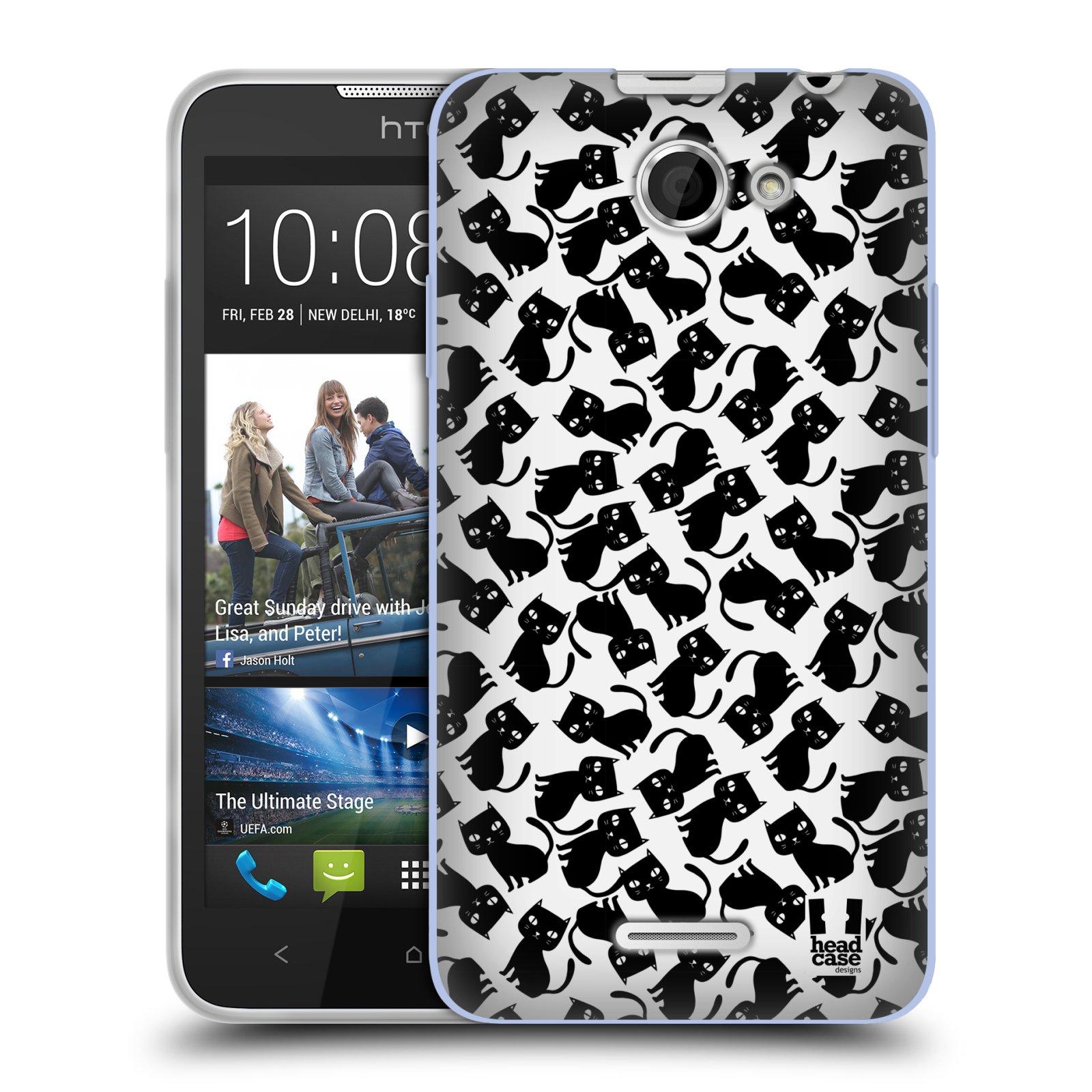 Silikonové pouzdro na mobil HTC Desire 516 HEAD CASE KOČKY Black Pattern (Silikonový kryt či obal na mobilní telefon HTC Desire 516 Dual SIM)