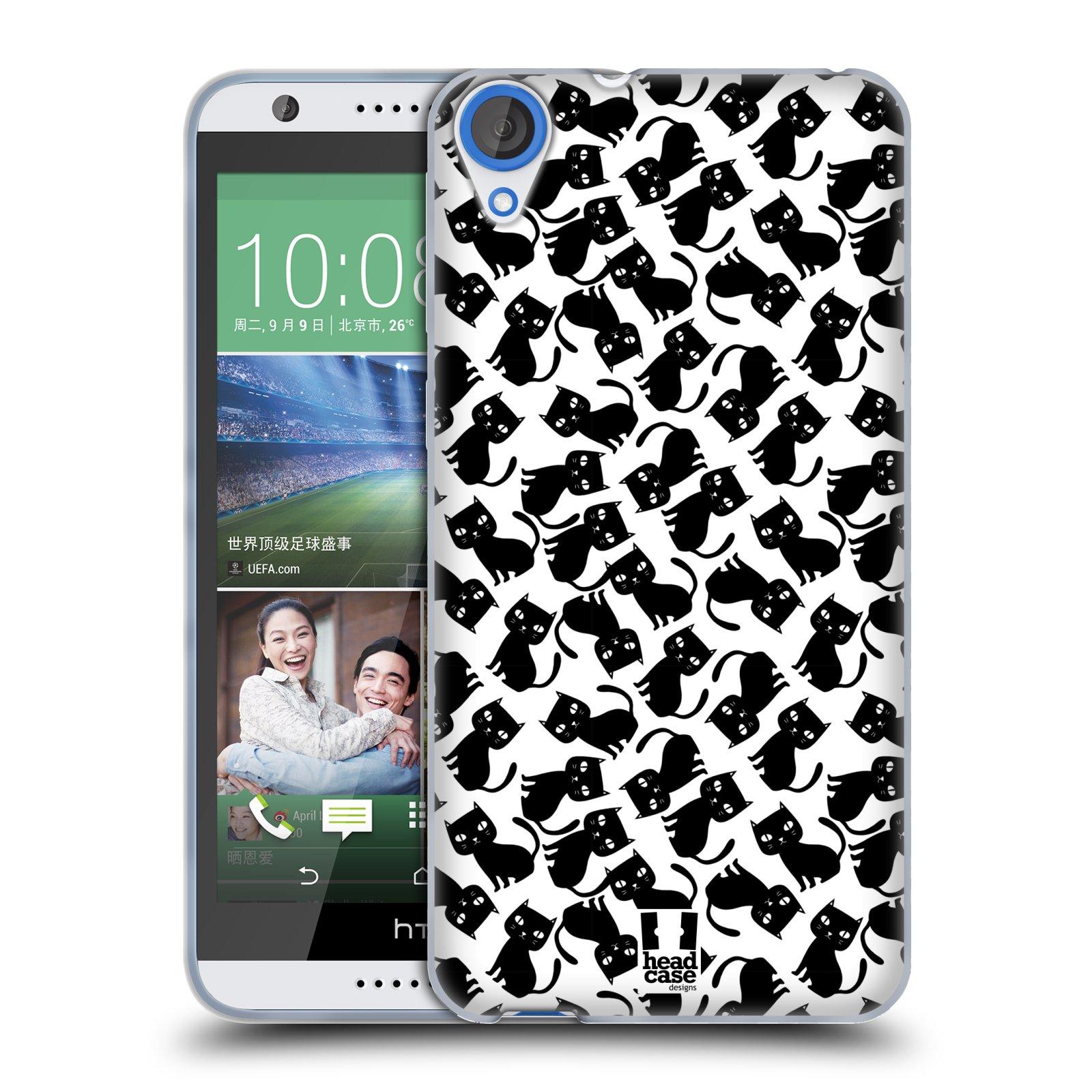 Silikonové pouzdro na mobil HTC Desire 820 HEAD CASE KOČKY Black Pattern (Silikonový kryt či obal na mobilní telefon HTC Desire 820)