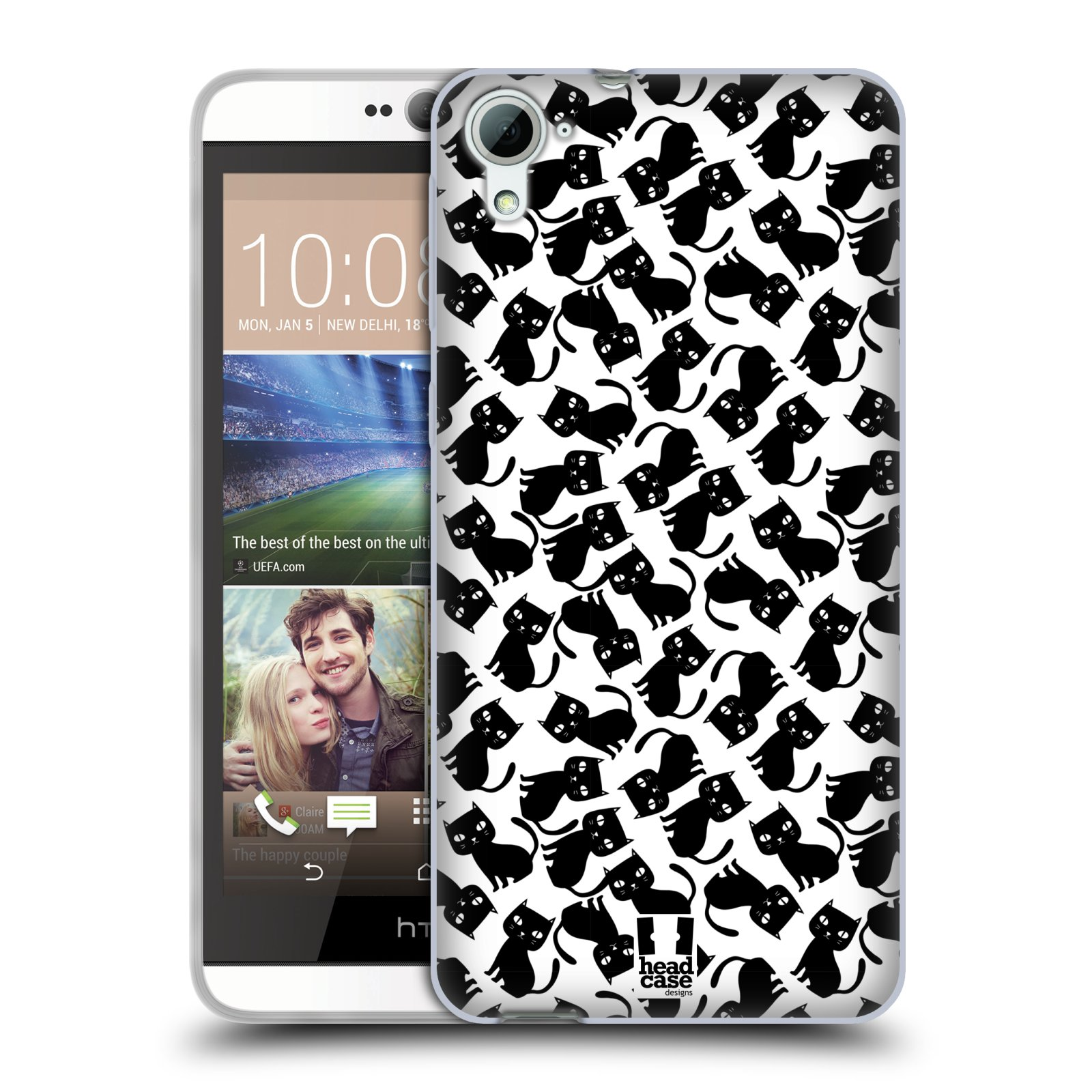 Silikonové pouzdro na mobil HTC Desire 826 HEAD CASE KOČKY Black Pattern (Silikonový kryt či obal na mobilní telefon HTC Desire 826 Dual SIM)