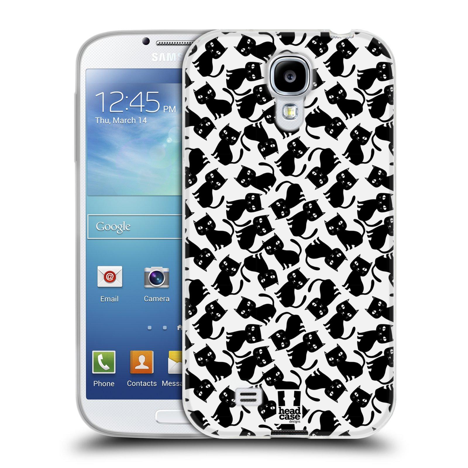 Silikonové pouzdro na mobil Samsung Galaxy S4 HEAD CASE KOČKY Black Pattern (Silikonový kryt či obal na mobilní telefon Samsung Galaxy S4 GT-i9505 / i9500)