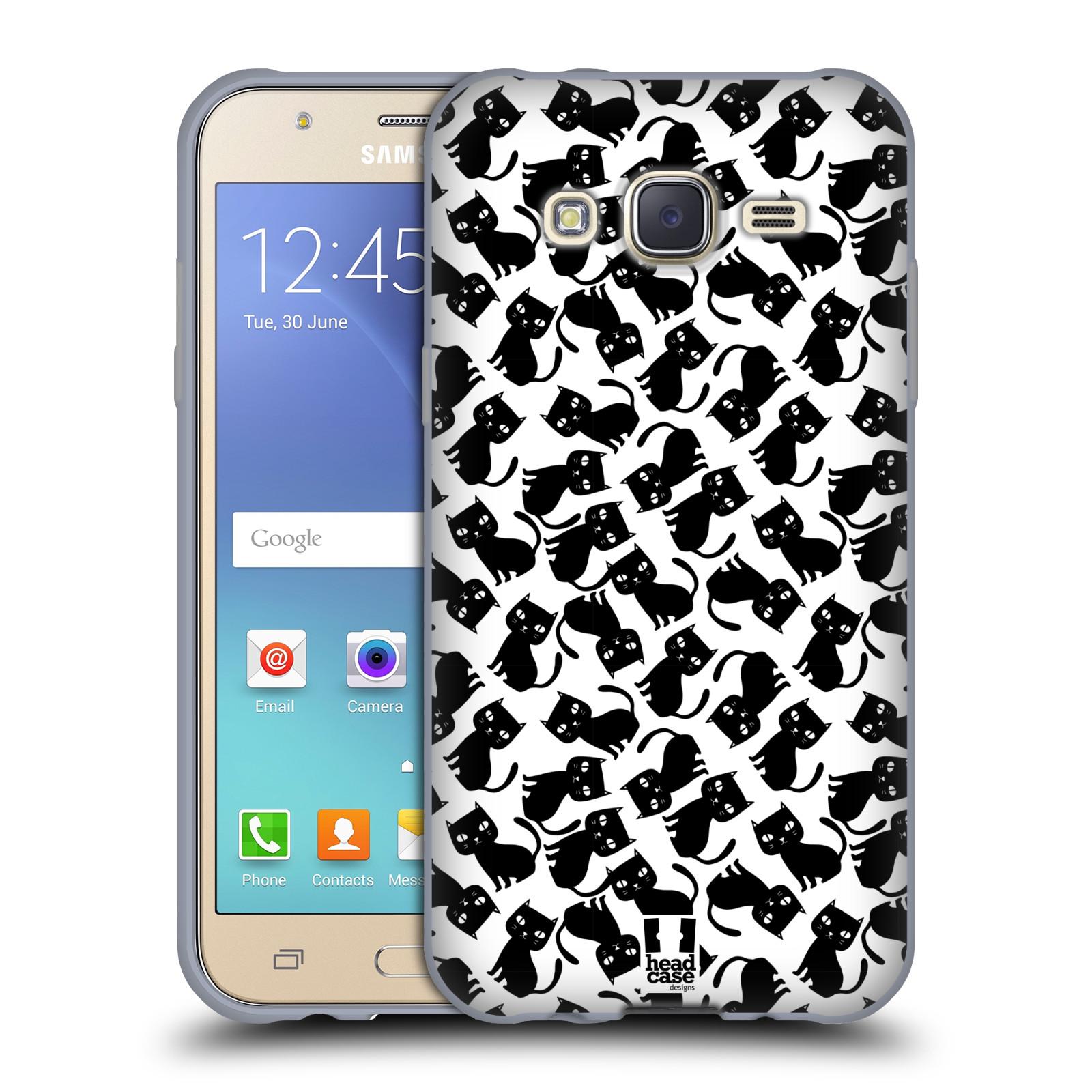 Silikonové pouzdro na mobil Samsung Galaxy J5 HEAD CASE KOČKY Black Pattern Silikonov½ kryt či
