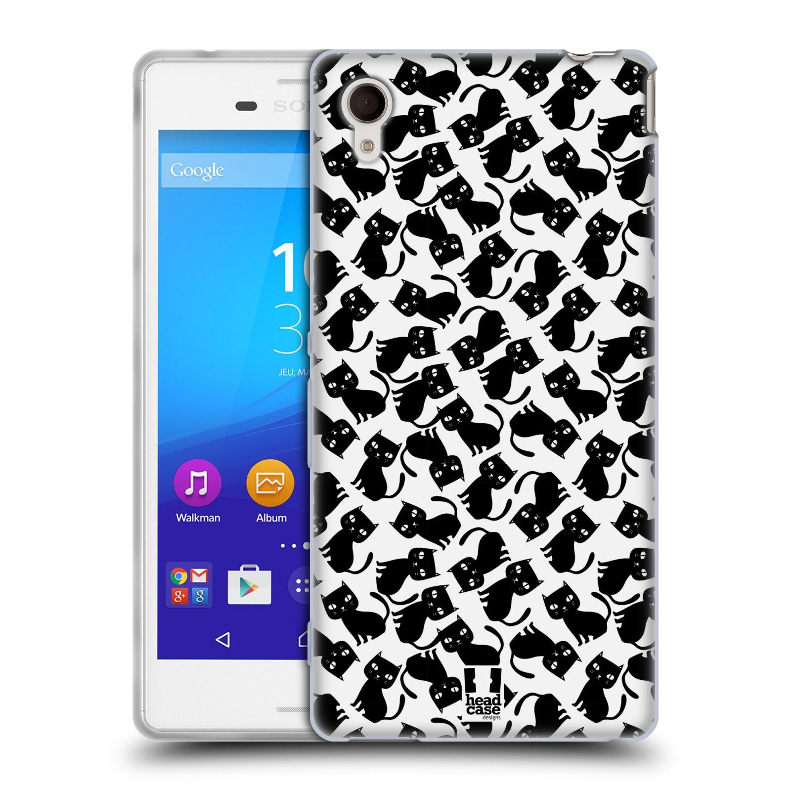 Silikonové pouzdro na mobil Sony Xperia M4 Aqua E2303 HEAD CASE KOČKY Black Pattern (Silikonový kryt či obal na mobilní telefon Sony Xperia M4 Aqua a M4 Aqua Dual SIM)