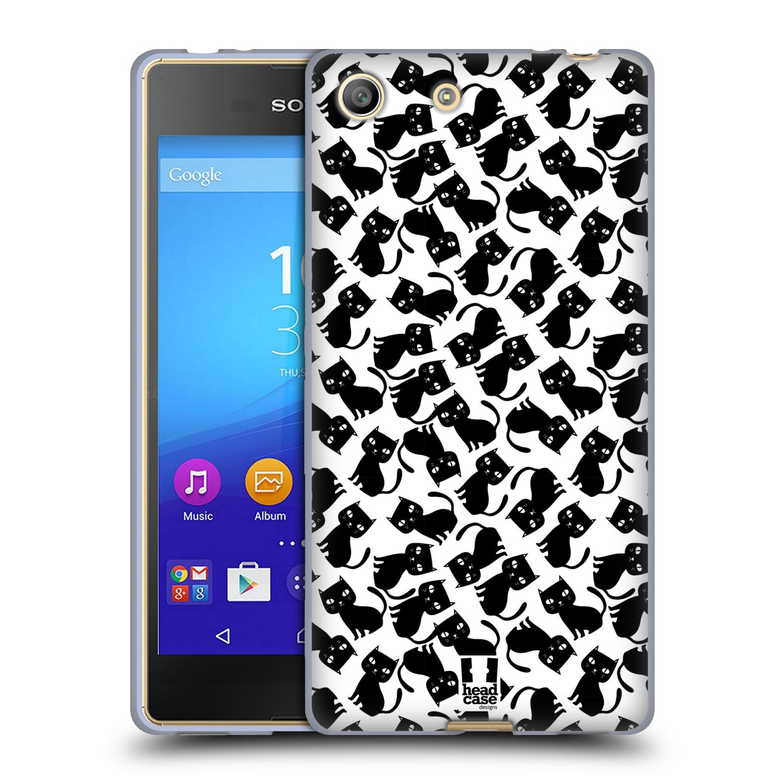 Silikonové pouzdro na mobil Sony Xperia M5 HEAD CASE KOČKY Black Pattern (Silikonový kryt či obal na mobilní telefon Sony Xperia M5 Dual SIM / Aqua)