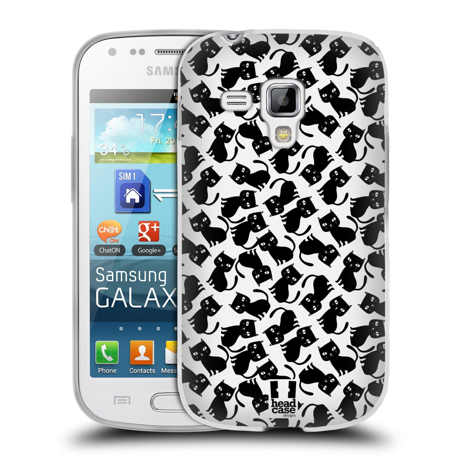 Silikonové pouzdro na mobil Samsung Galaxy S Duos HEAD CASE KOČKY Black Pattern (Silikonový kryt či obal na mobilní telefon Samsung Galaxy S Duos GT-S7562)