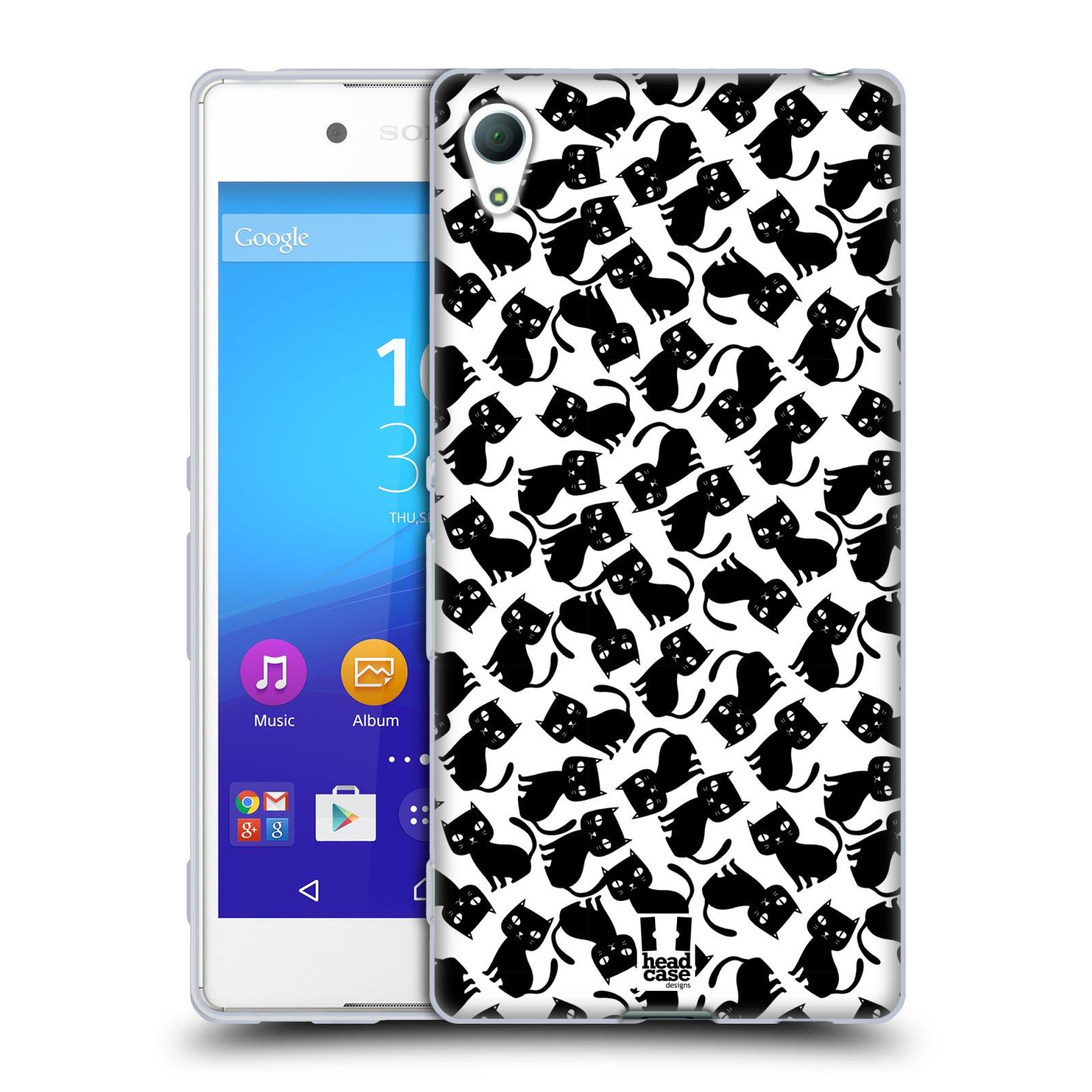 Silikonové pouzdro na mobil Sony Xperia Z3+ (Plus) HEAD CASE KOČKY Black Pattern (Silikonový kryt či obal na mobilní telefon Sony Xperia Z3+ / Z4 E6553)