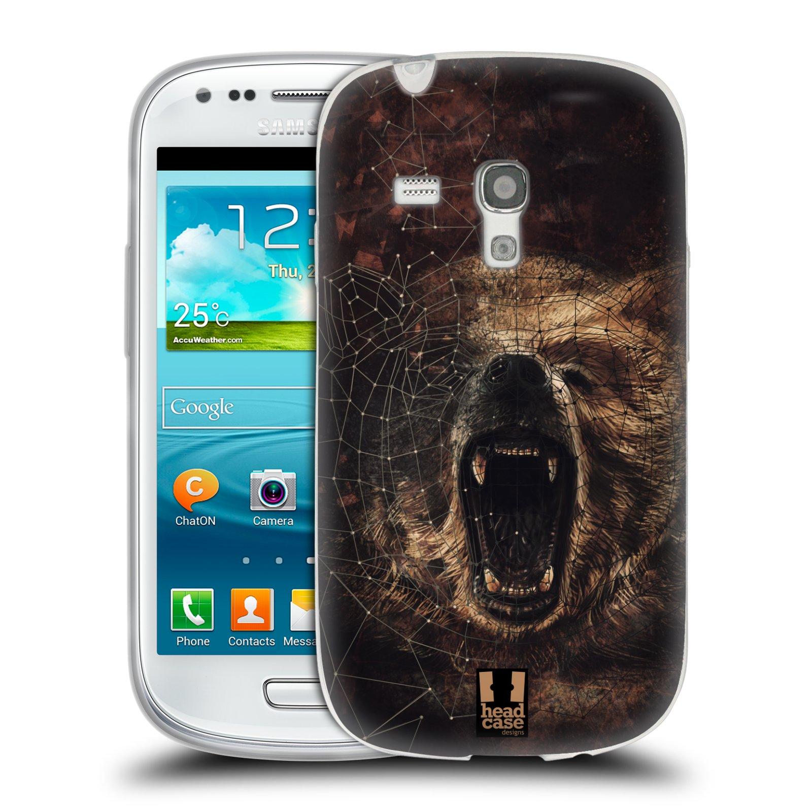 Silikonové pouzdro na mobil Samsung Galaxy S III Mini HEAD CASE POLYSKETCH GRIZZLY (Silikonový kryt či obal na mobilní telefon Samsung Galaxy S III Mini GT-i8190)