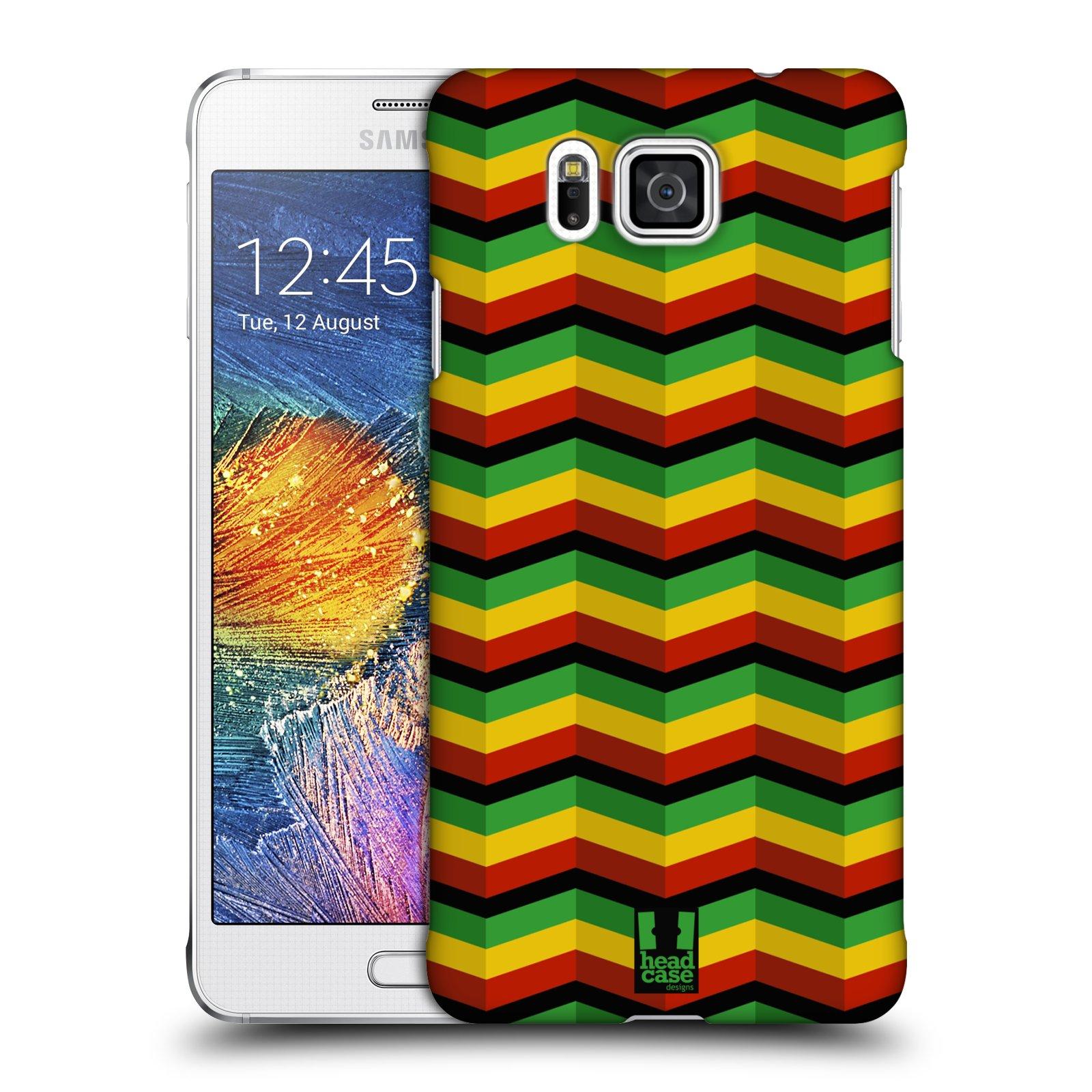 Plastové pouzdro na mobil Samsung Galaxy Alpha HEAD CASE RASTA CHEVRON (Kryt či obal na mobilní telefon Samsung Galaxy Alpha SM-G850)