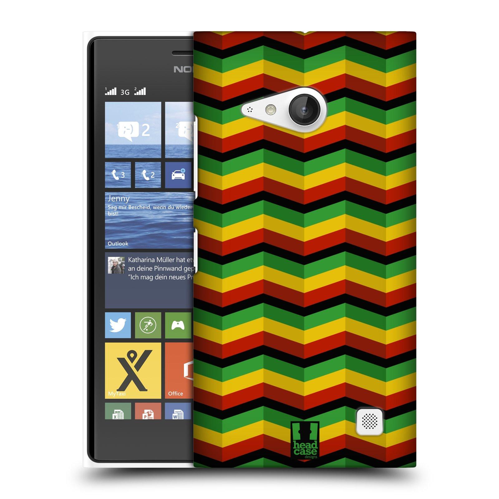 Plastové pouzdro na mobil Nokia Lumia 735 HEAD CASE RASTA CHEVRON (Kryt či obal na mobilní telefon Nokia Lumia 735)