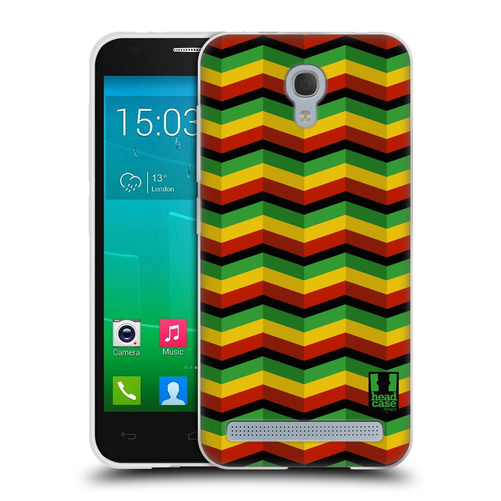Silikonové pouzdro na mobil Alcatel One Touch Idol 2 Mini S 6036Y HEAD CASE RASTA CHEVRON (Silikonový kryt či obal na mobilní telefon Alcatel Idol 2 Mini S OT-6036Y)