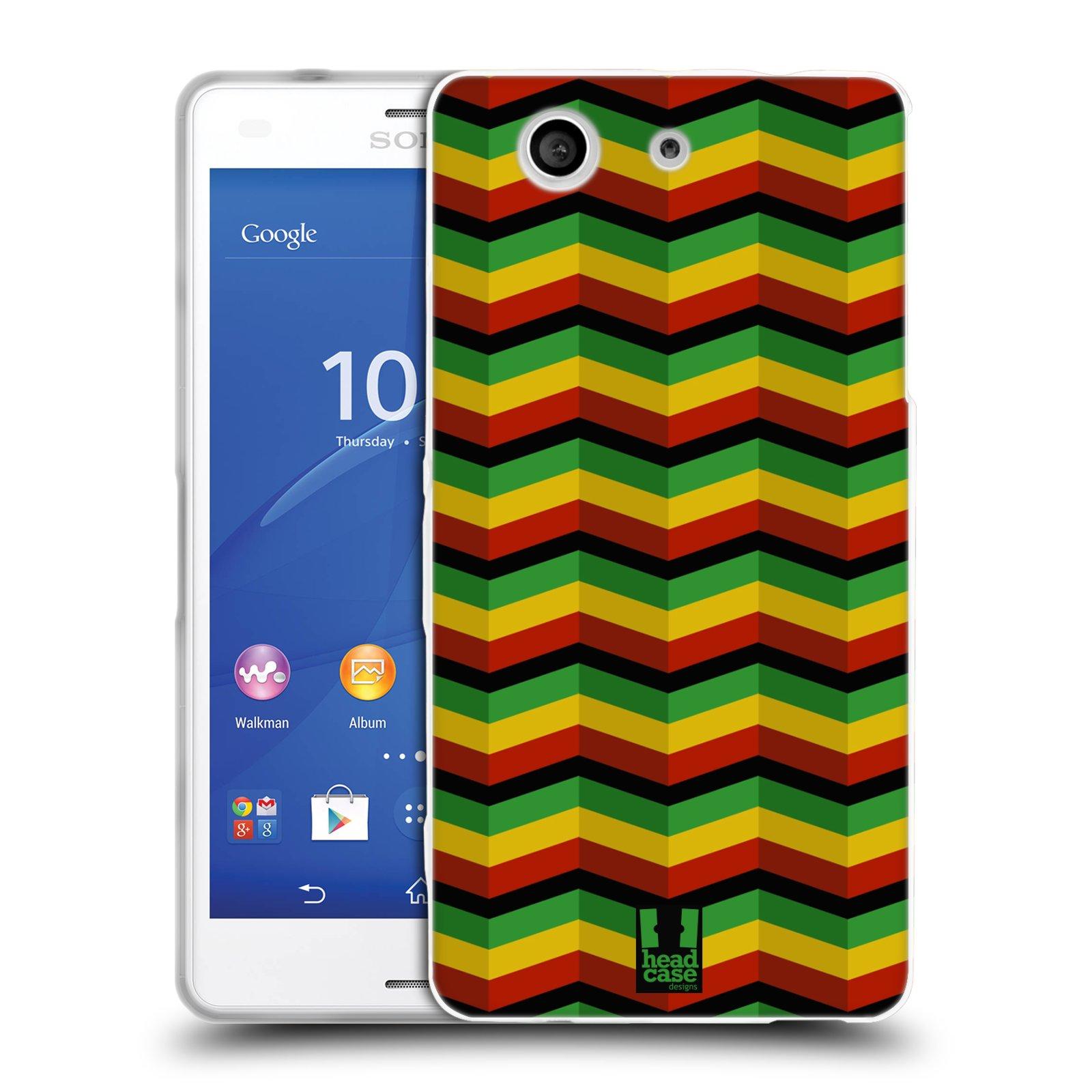 Silikonové pouzdro na mobil Sony Xperia Z3 Compact D5803 HEAD CASE RASTA CHEVRON (Silikonový kryt či obal na mobilní telefon Sony Xperia Z3 Compact)