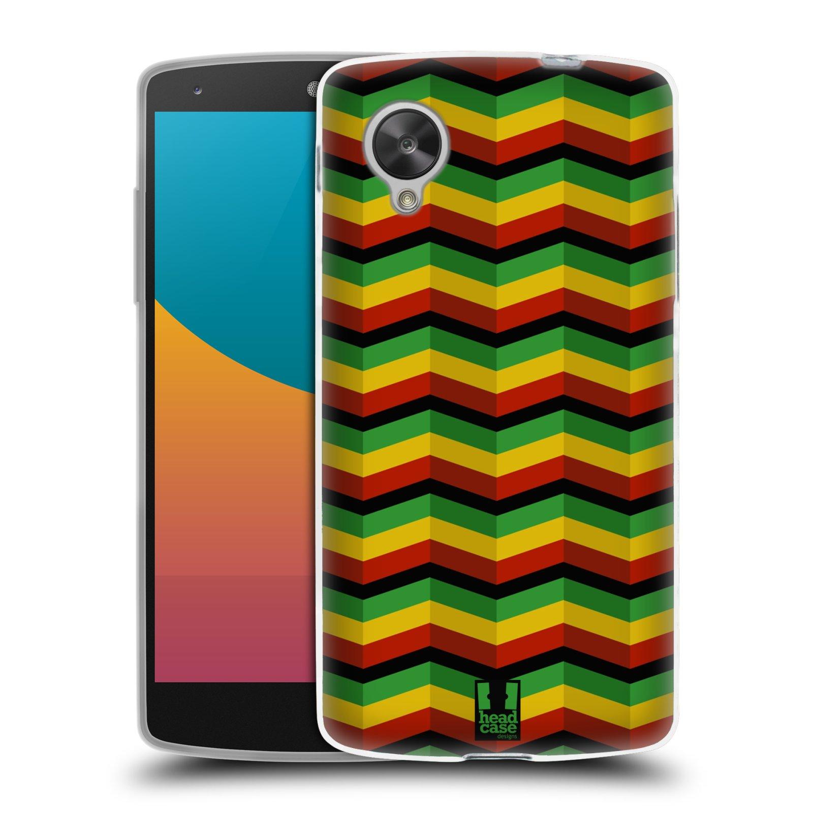 Silikonové pouzdro na mobil LG Nexus 5 HEAD CASE RASTA CHEVRON (Silikonový kryt či obal na mobilní telefon LG Google Nexus 5 D821)