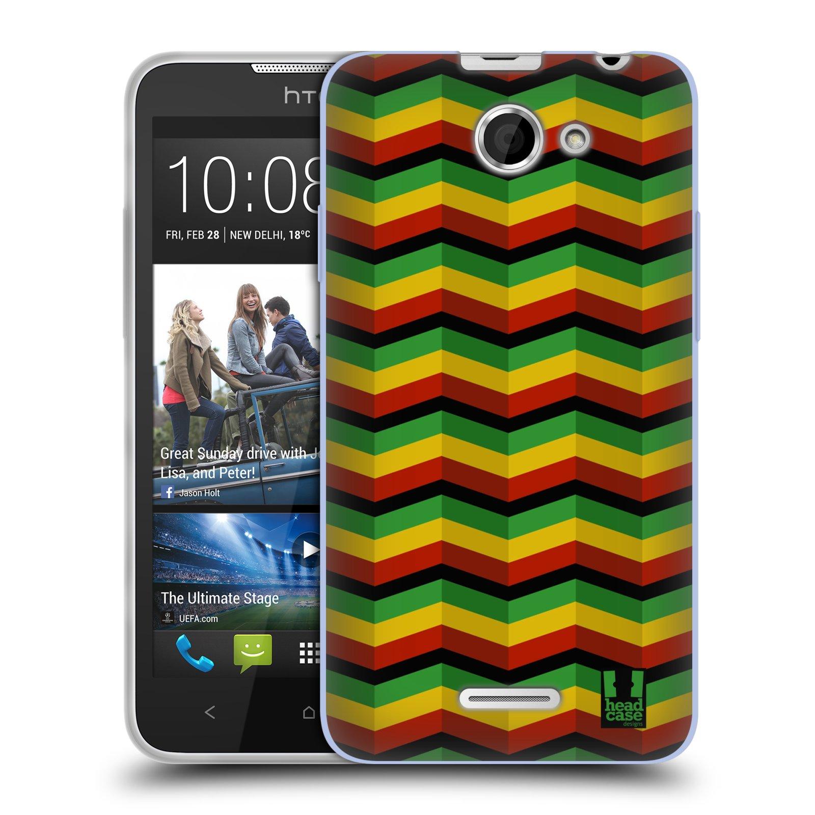 Silikonové pouzdro na mobil HTC Desire 516 HEAD CASE RASTA CHEVRON (Silikonový kryt či obal na mobilní telefon HTC Desire 516 Dual SIM)