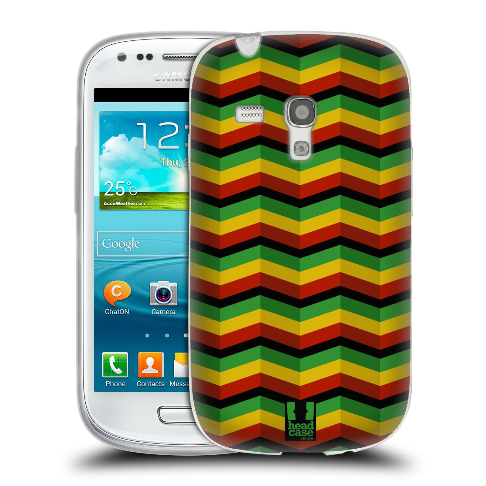 Silikonové pouzdro na mobil Samsung Galaxy S III Mini HEAD CASE RASTA CHEVRON (Silikonový kryt či obal na mobilní telefon Samsung Galaxy S III Mini GT-i8190)
