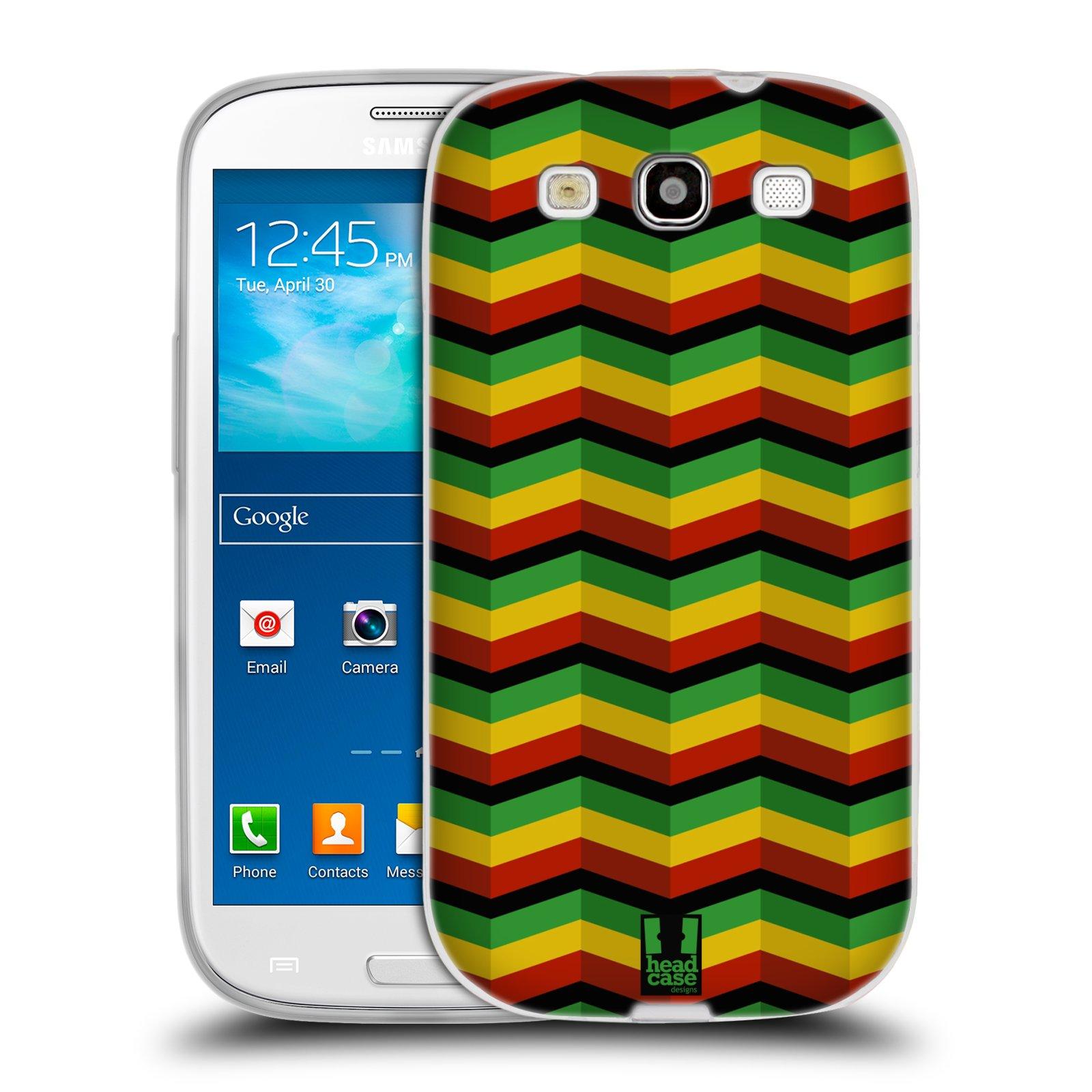 Silikonové pouzdro na mobil Samsung Galaxy S3 Neo HEAD CASE RASTA CHEVRON (Silikonový kryt či obal na mobilní telefon Samsung Galaxy S3 Neo GT-i9301i)
