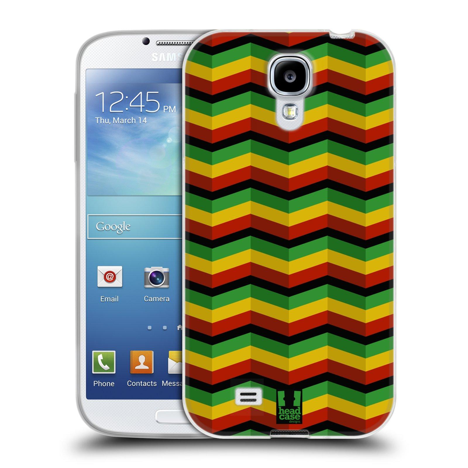 Silikonové pouzdro na mobil Samsung Galaxy S4 HEAD CASE RASTA CHEVRON (Silikonový kryt či obal na mobilní telefon Samsung Galaxy S4 GT-i9505 / i9500)