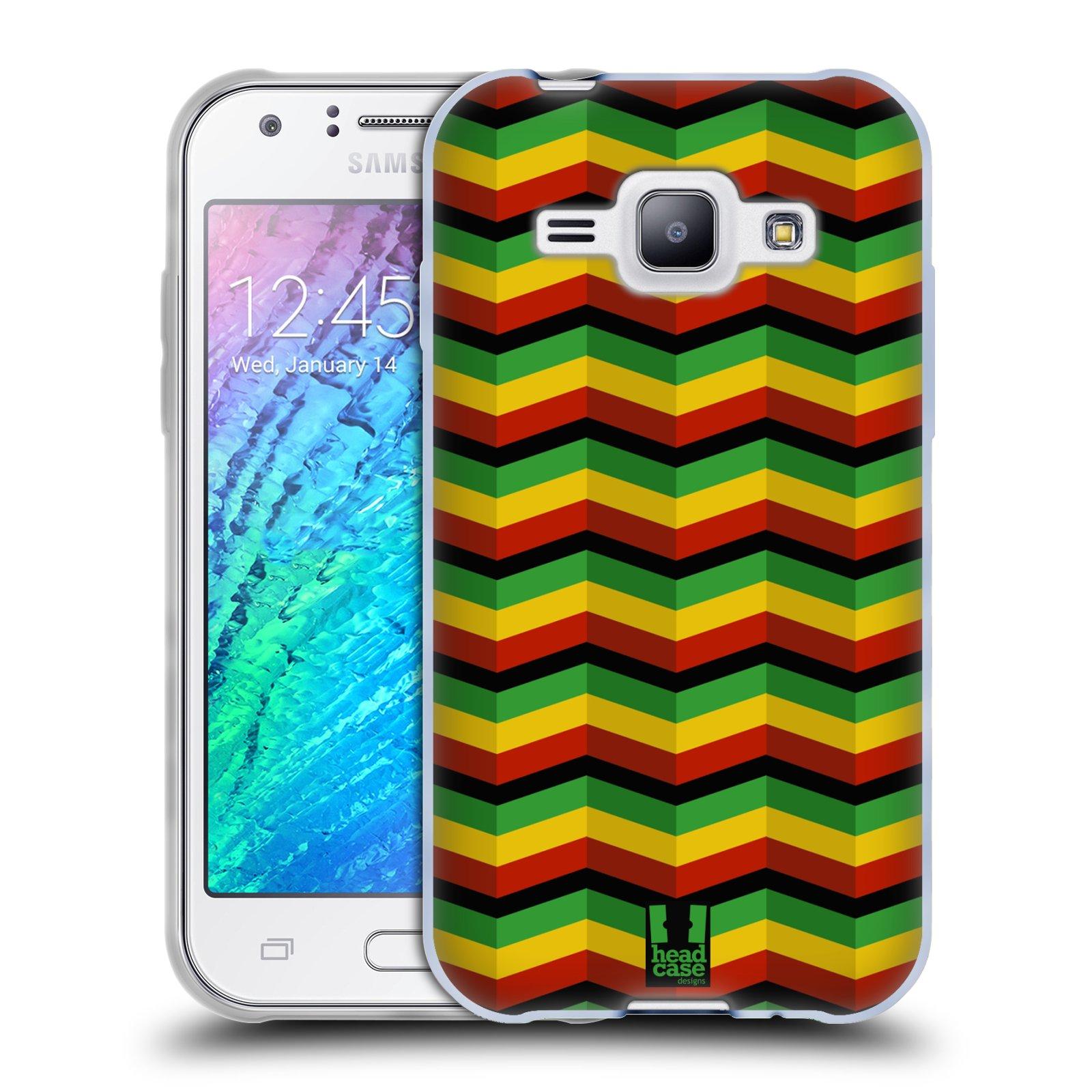 Silikonové pouzdro na mobil Samsung Galaxy J1 HEAD CASE RASTA CHEVRON (Silikonový kryt či obal na mobilní telefon Samsung Galaxy J1 a J1 Duos)