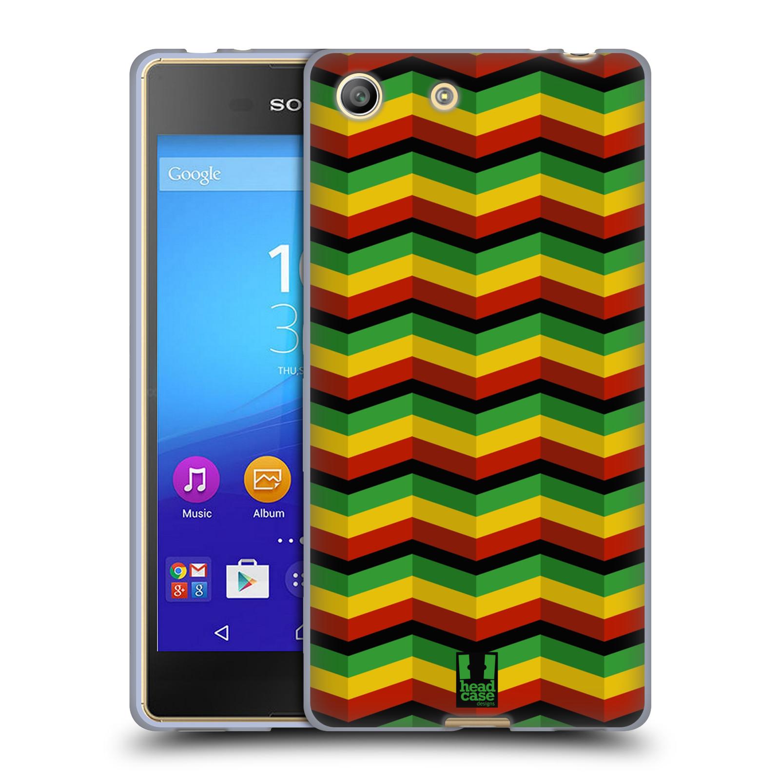 Silikonové pouzdro na mobil Sony Xperia M5 HEAD CASE RASTA CHEVRON (Silikonový kryt či obal na mobilní telefon Sony Xperia M5 Dual SIM / Aqua)