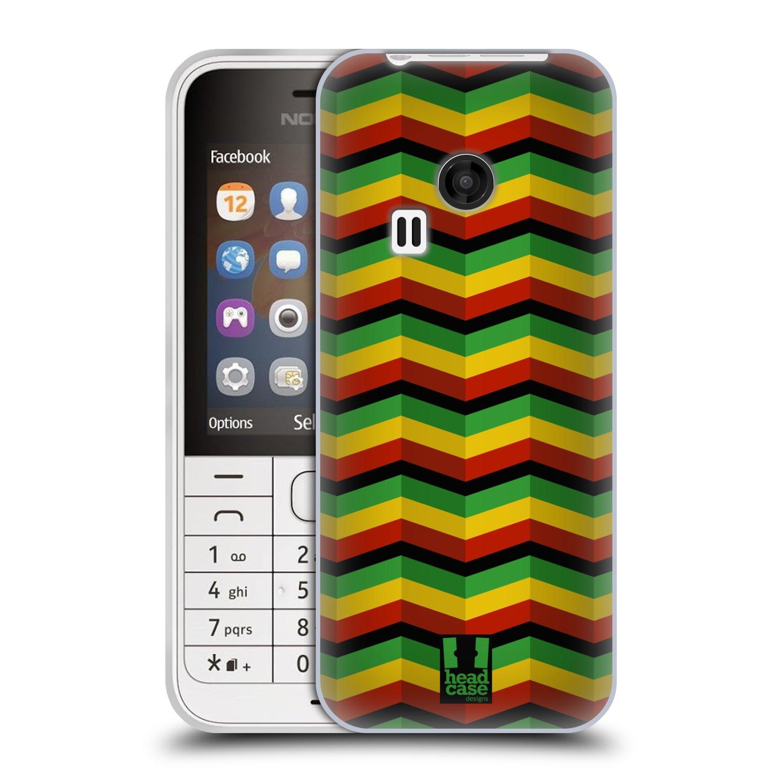 Silikonové pouzdro na mobil Nokia 220 HEAD CASE RASTA CHEVRON (Silikonový kryt či obal na mobilní telefon Nokia 220 a 220 Dual SIM)