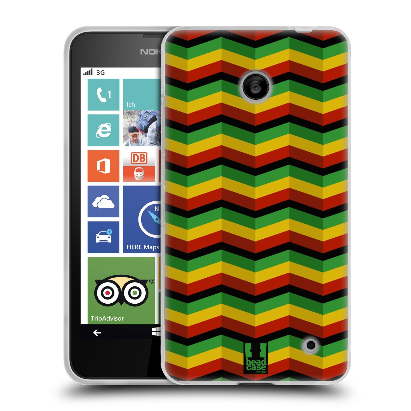 Silikonové pouzdro na mobil Nokia Lumia 630 HEAD CASE RASTA CHEVRON (Silikonový kryt či obal na mobilní telefon Nokia Lumia 630 a Nokia Lumia 630 Dual SIM)