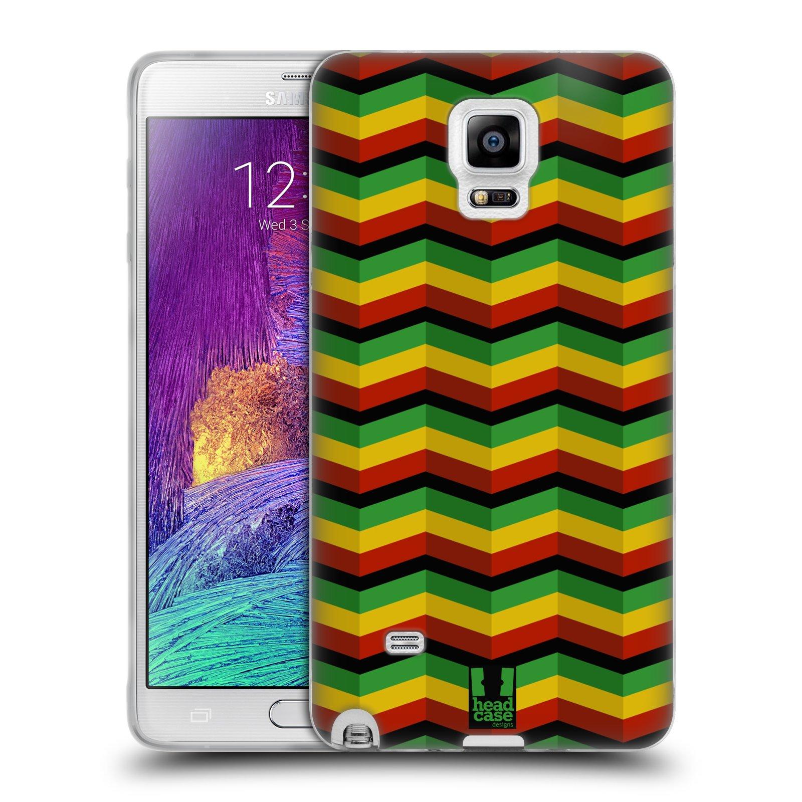 Silikonové pouzdro na mobil Samsung Galaxy Note 4 HEAD CASE RASTA CHEVRON (Silikonový kryt či obal na mobilní telefon Samsung Galaxy Note 4 SM-N910F)