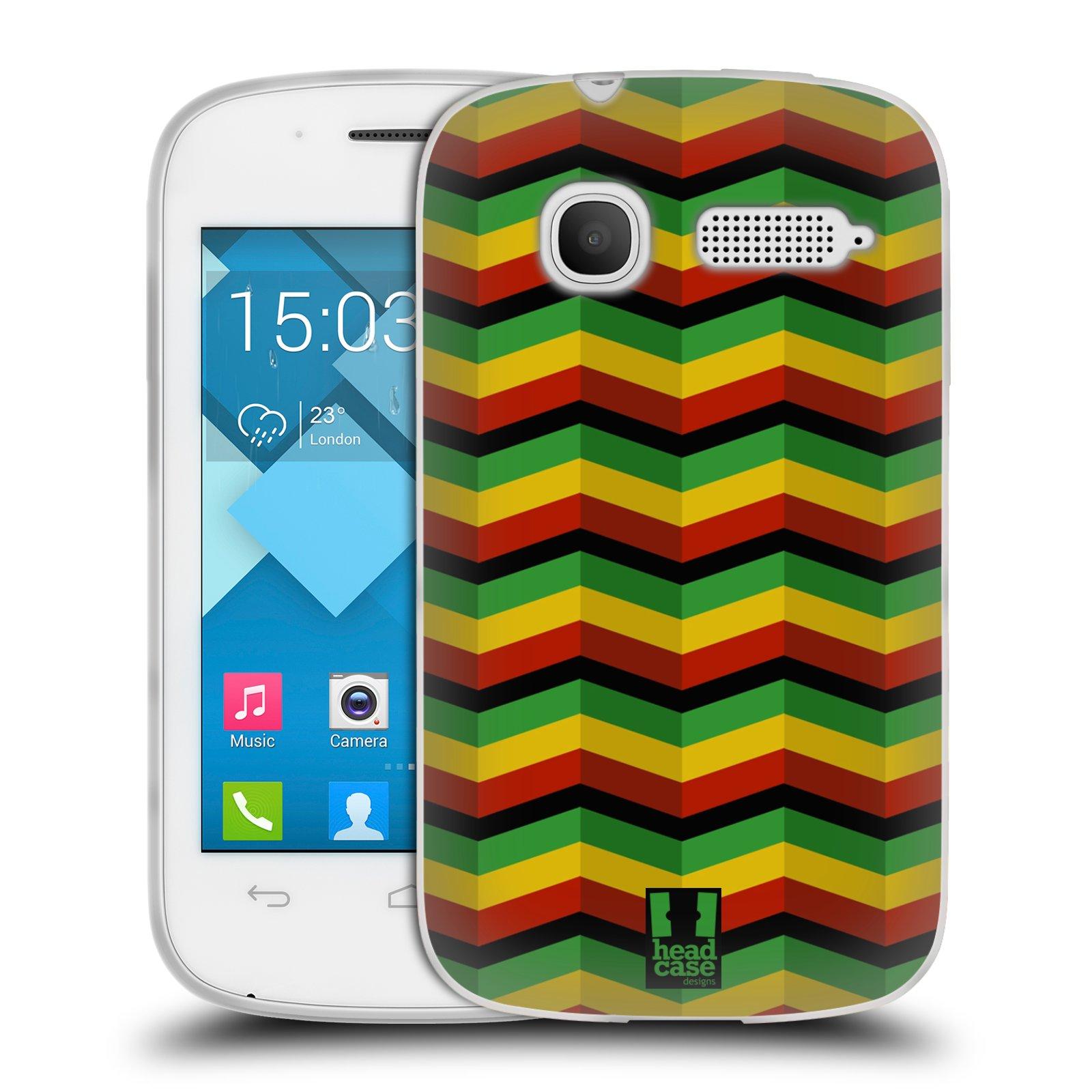 Silikonové pouzdro na mobil Alcatel One Touch Pop C1 HEAD CASE RASTA CHEVRON (Silikonový kryt či obal na mobilní telefon Alcatel OT-4015D POP C1)