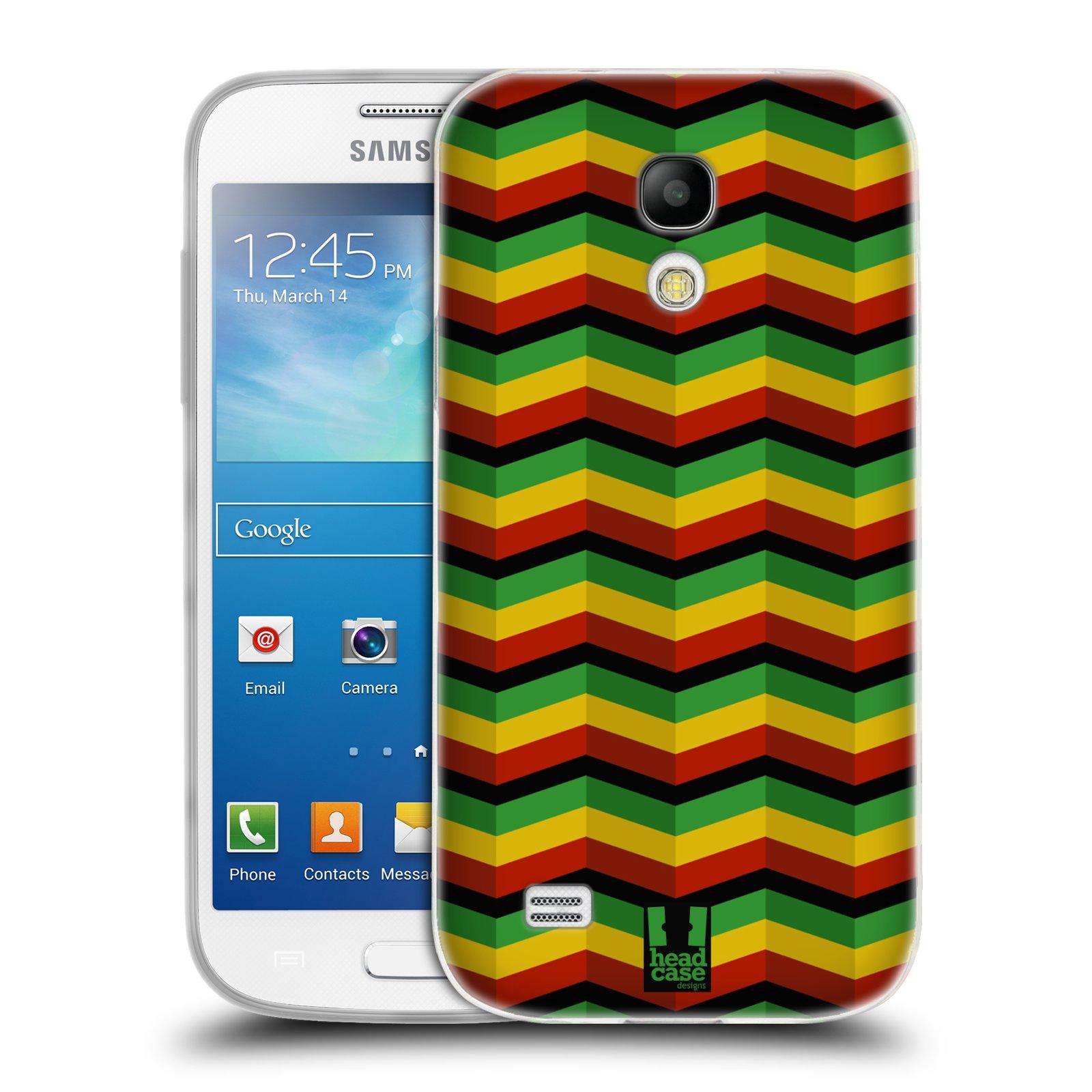 Silikonové pouzdro na mobil Samsung Galaxy S4 Mini HEAD CASE RASTA CHEVRON (Silikonový kryt či obal na mobilní telefon Samsung Galaxy S4 Mini GT-i9195 / i9190 (nepasuje na verzi Black Edition))