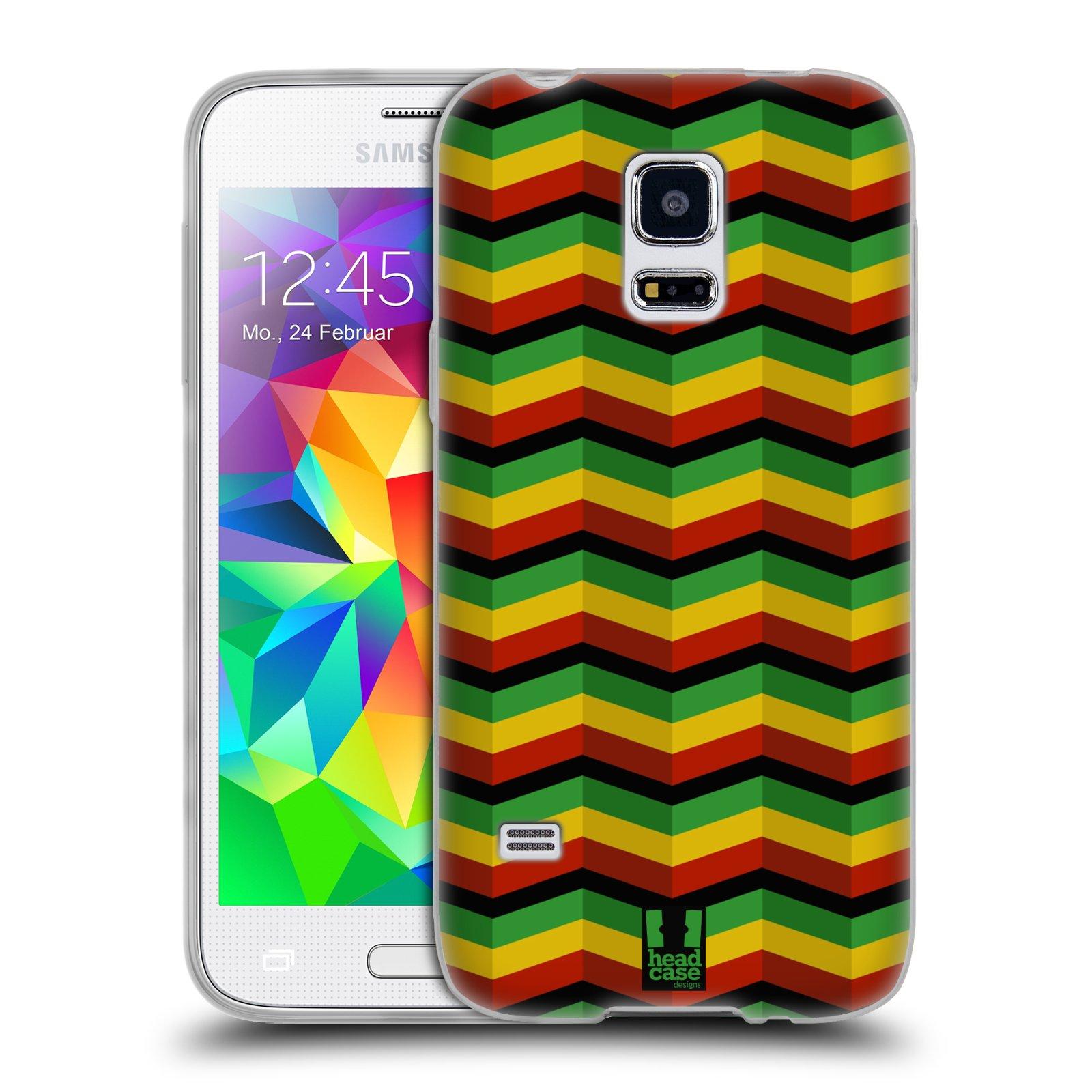 Silikonové pouzdro na mobil Samsung Galaxy S5 Mini HEAD CASE RASTA CHEVRON (Silikonový kryt či obal na mobilní telefon Samsung Galaxy S5 Mini SM-G800F)