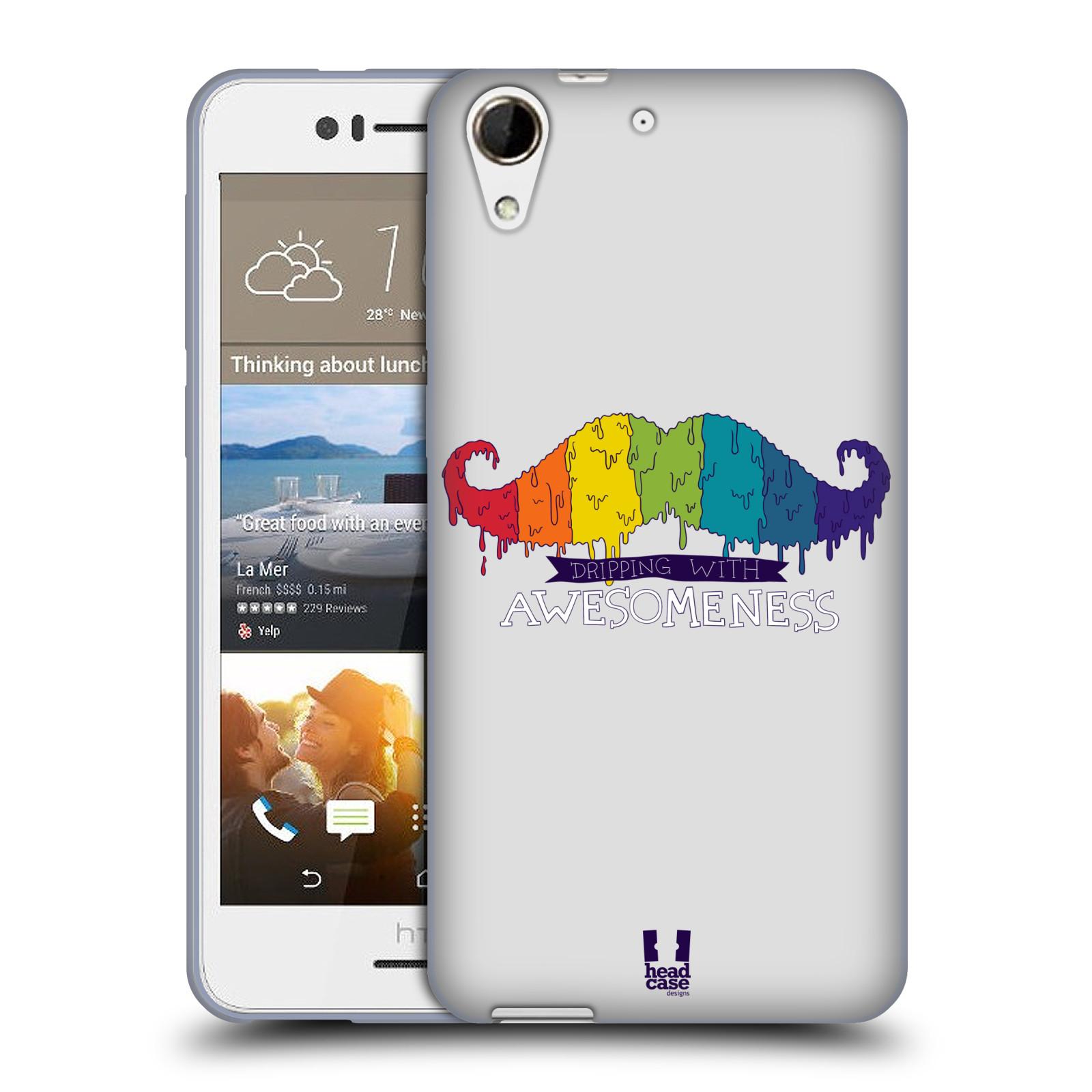 Silikonové pouzdro na mobil HTC Desire 728G Dual SIM HEAD CASE KNÍR AWESOMENESS DUHOVÝ (Silikonový kryt či obal na mobilní telefon HTC Desire 728 G Dual SIM)
