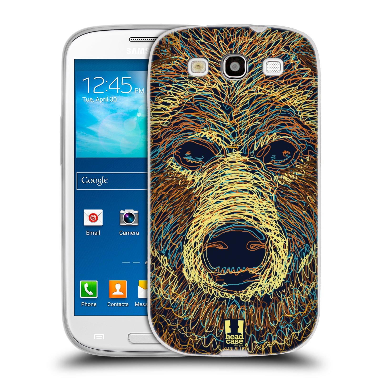 Silikonové pouzdro na mobil Samsung Galaxy S3 Neo HEAD CASE SCRIBBLE MEDVĚD (Silikonový kryt či obal na mobilní telefon Samsung Galaxy S3 Neo GT-i9301i)