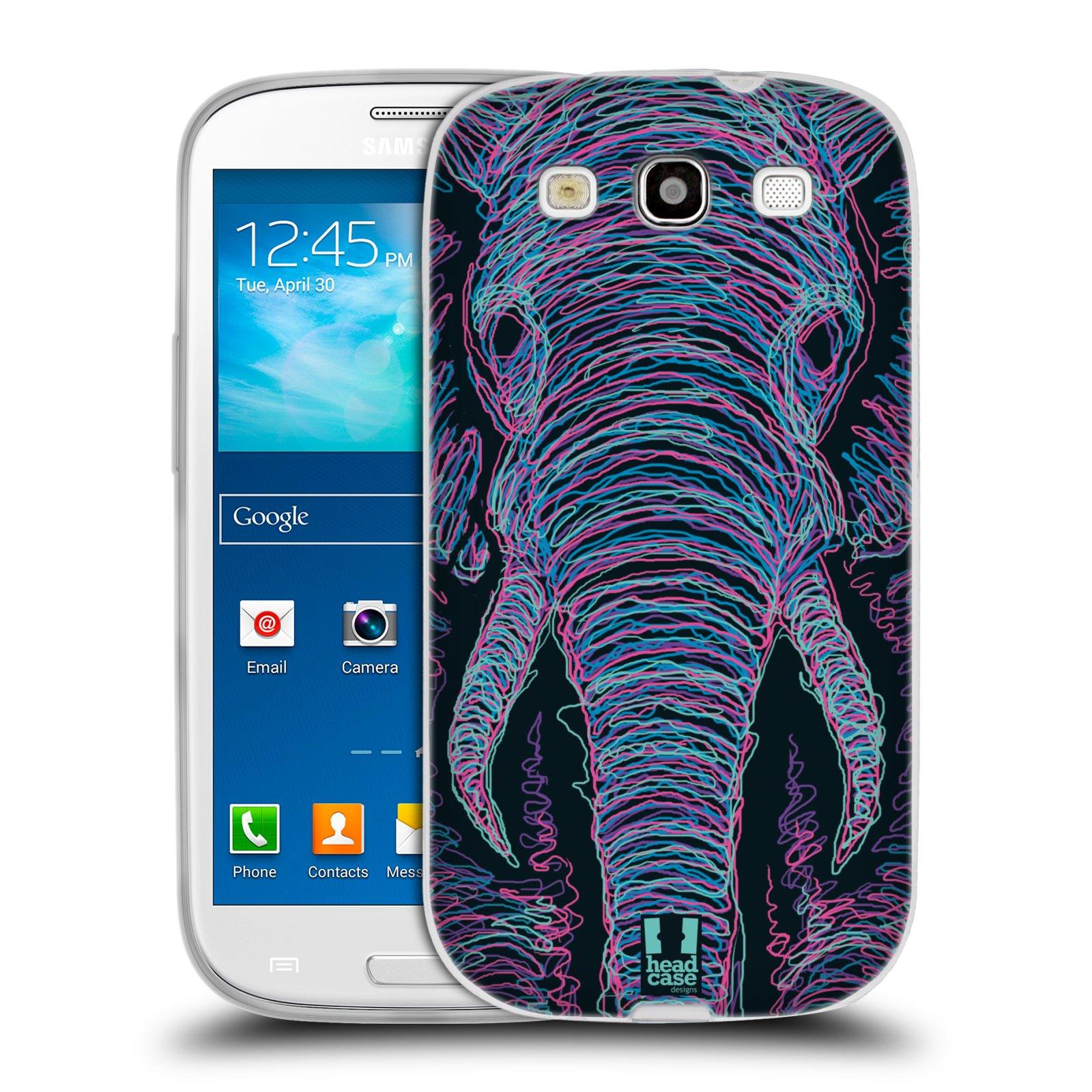 Silikonové pouzdro na mobil Samsung Galaxy S3 Neo HEAD CASE SCRIBBLE SLON (Silikonový kryt či obal na mobilní telefon Samsung Galaxy S3 Neo GT-i9301i)