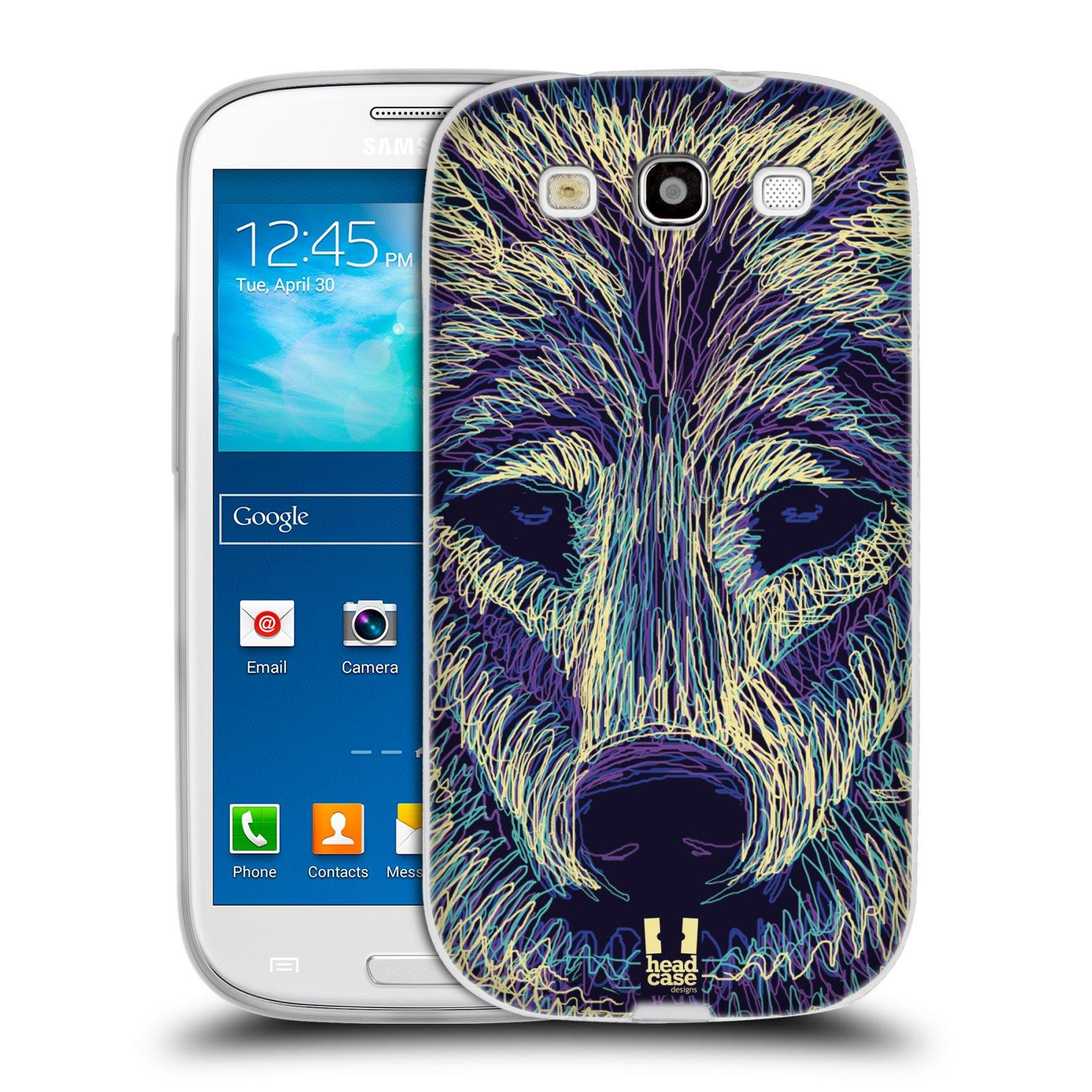 Silikonové pouzdro na mobil Samsung Galaxy S3 Neo HEAD CASE SCRIBBLE VLK (Silikonový kryt či obal na mobilní telefon Samsung Galaxy S3 Neo GT-i9301i)