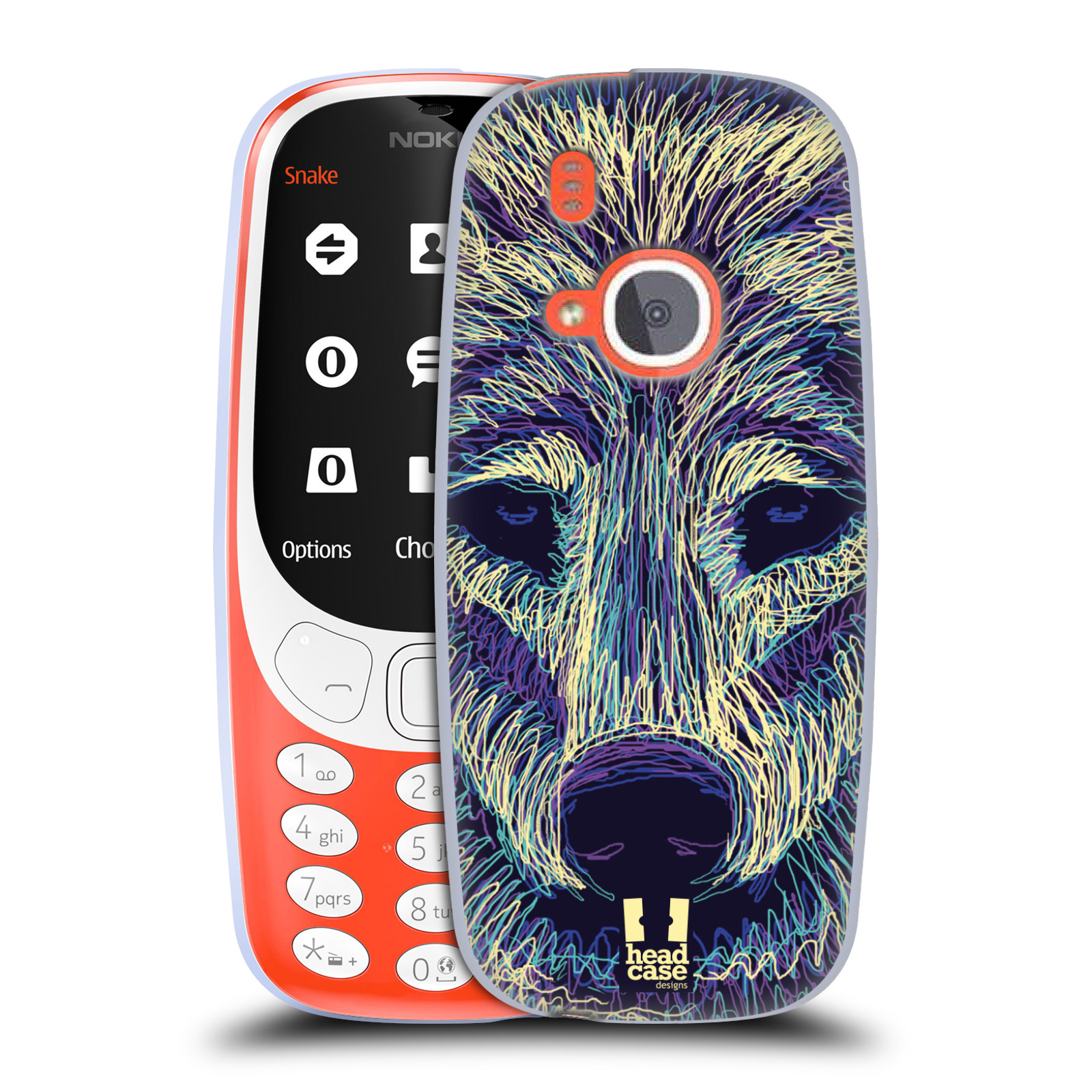 Silikonové pouzdro na mobil Nokia 3310 - Head Case - SCRIBBLE VLK (Silikonový kryt či obal na mobilní telefon Nokia 3310 (2017) s motivem SCRIBBLE VLK)