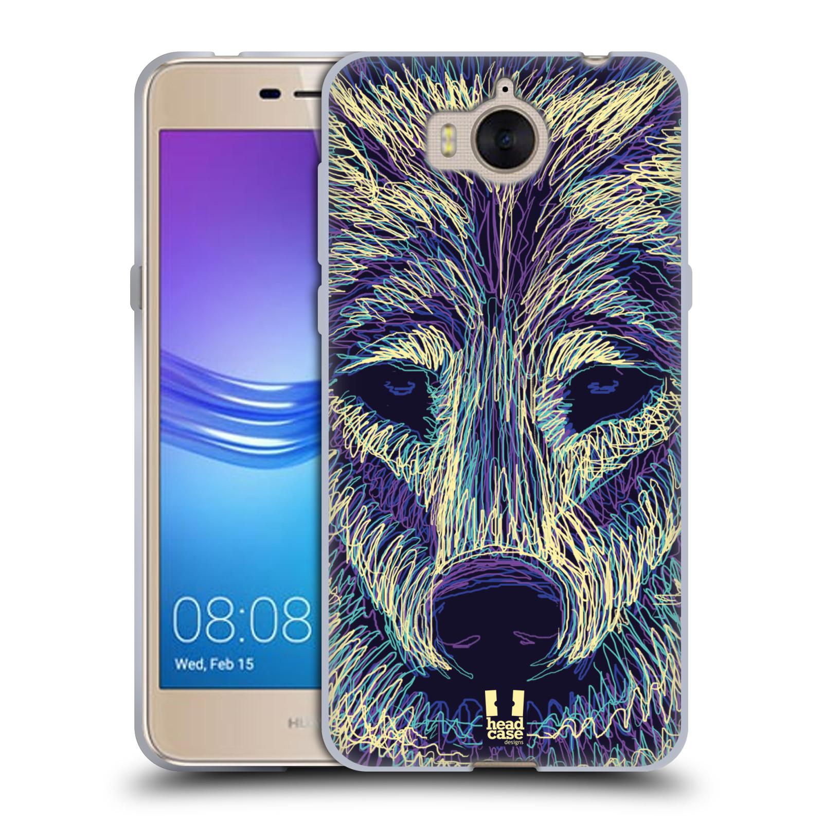 Silikonové pouzdro na mobil Huawei Y6 2017 - Head Case - SCRIBBLE VLK (Silikonový kryt či obal na mobilní telefon Huawei Y6 (2017) s motivem SCRIBBLE VLK)