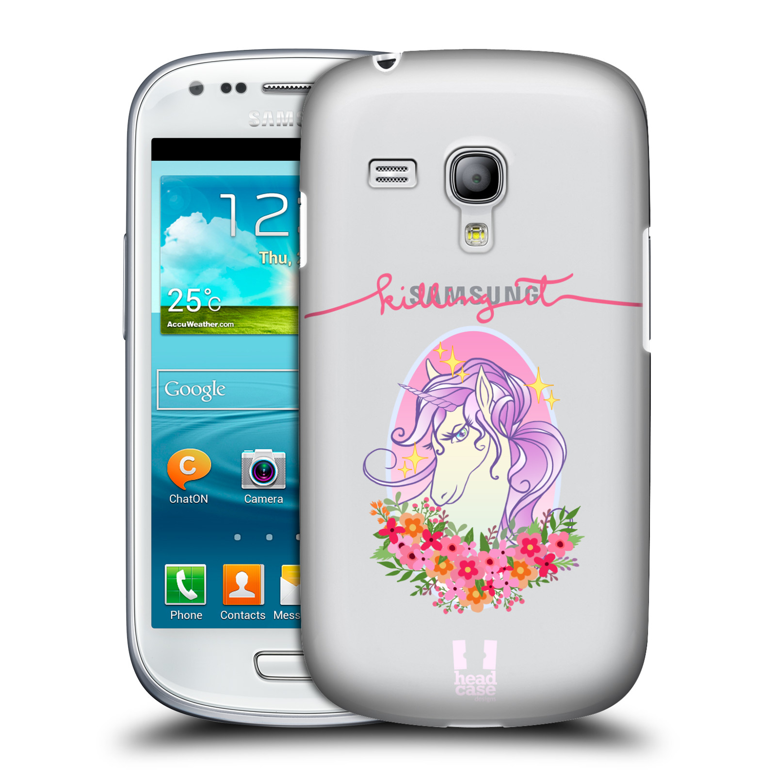 Silikonové pouzdro na mobil Samsung Galaxy S III Mini VE - Head Case - Jednorožec - Killing it (Plastový kryt či obal na mobilní telefon s motivem jednorožce (unicorn) pro Samsung Galaxy S3 Mini VE GT-i8200)