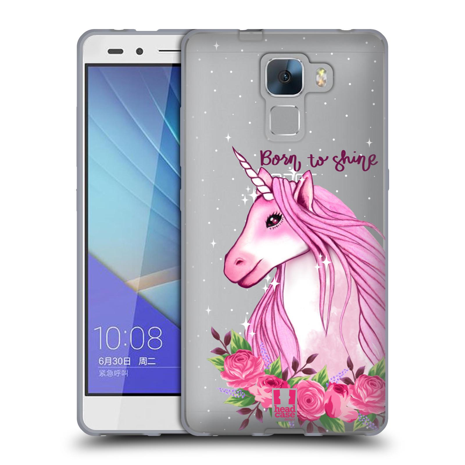 Silikonové pouzdro na mobil Honor 7 - Head Case - Jednorožec - Born to shine