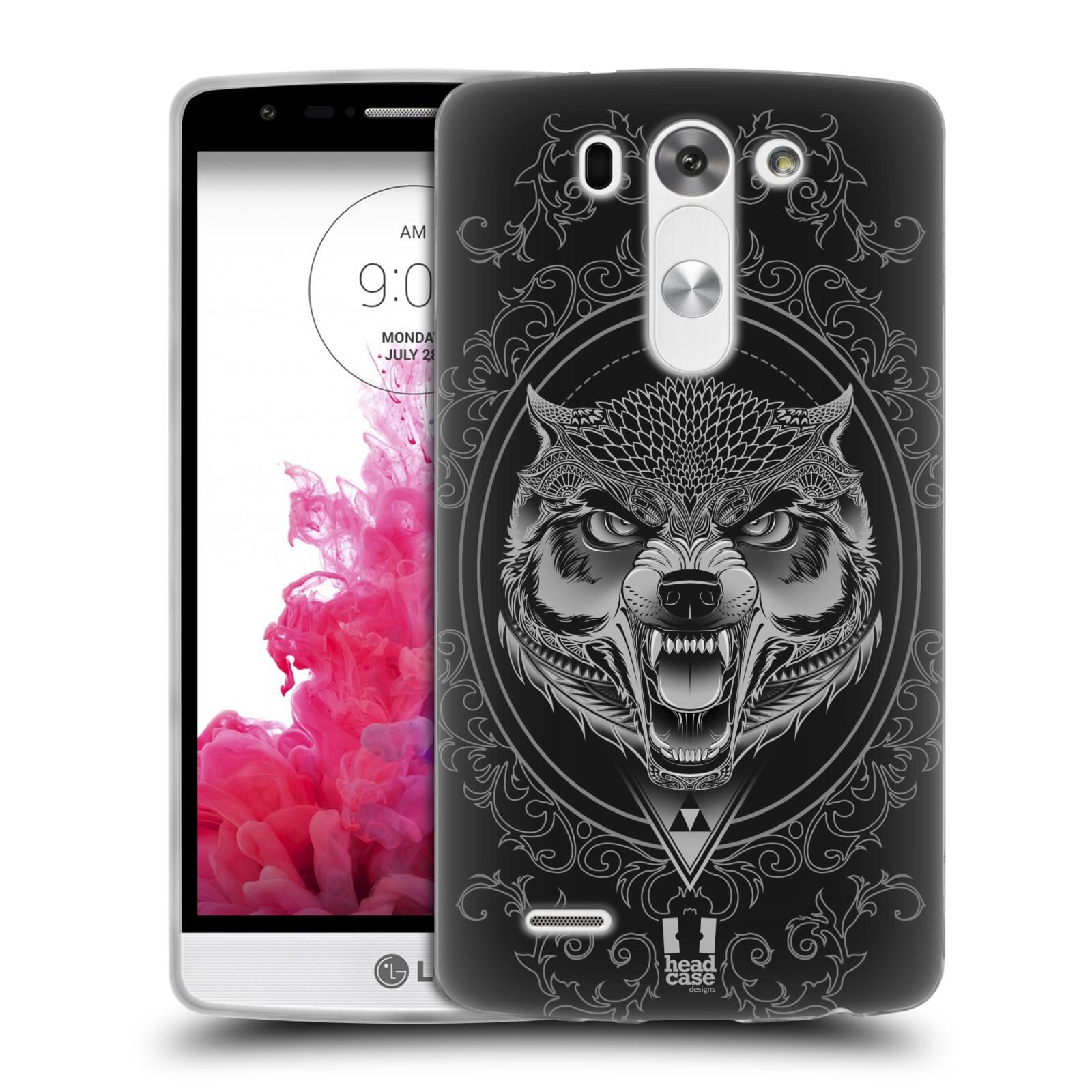 Silikonové pouzdro na mobil LG G3s - Head Case - Krutý vlk