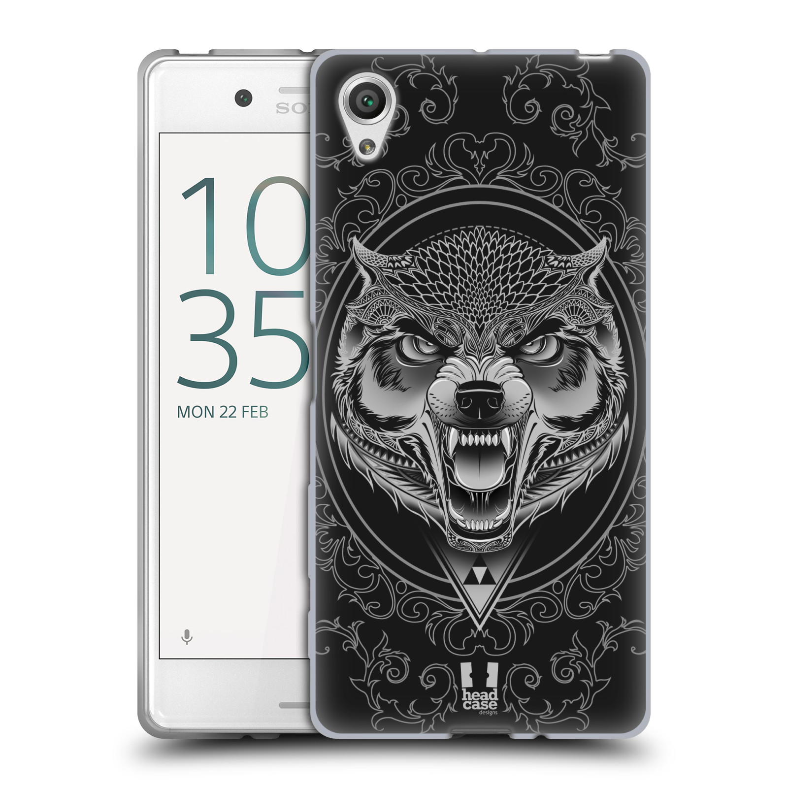 Silikonové pouzdro na mobil Sony Xperia X - Head Case - Krutý vlk