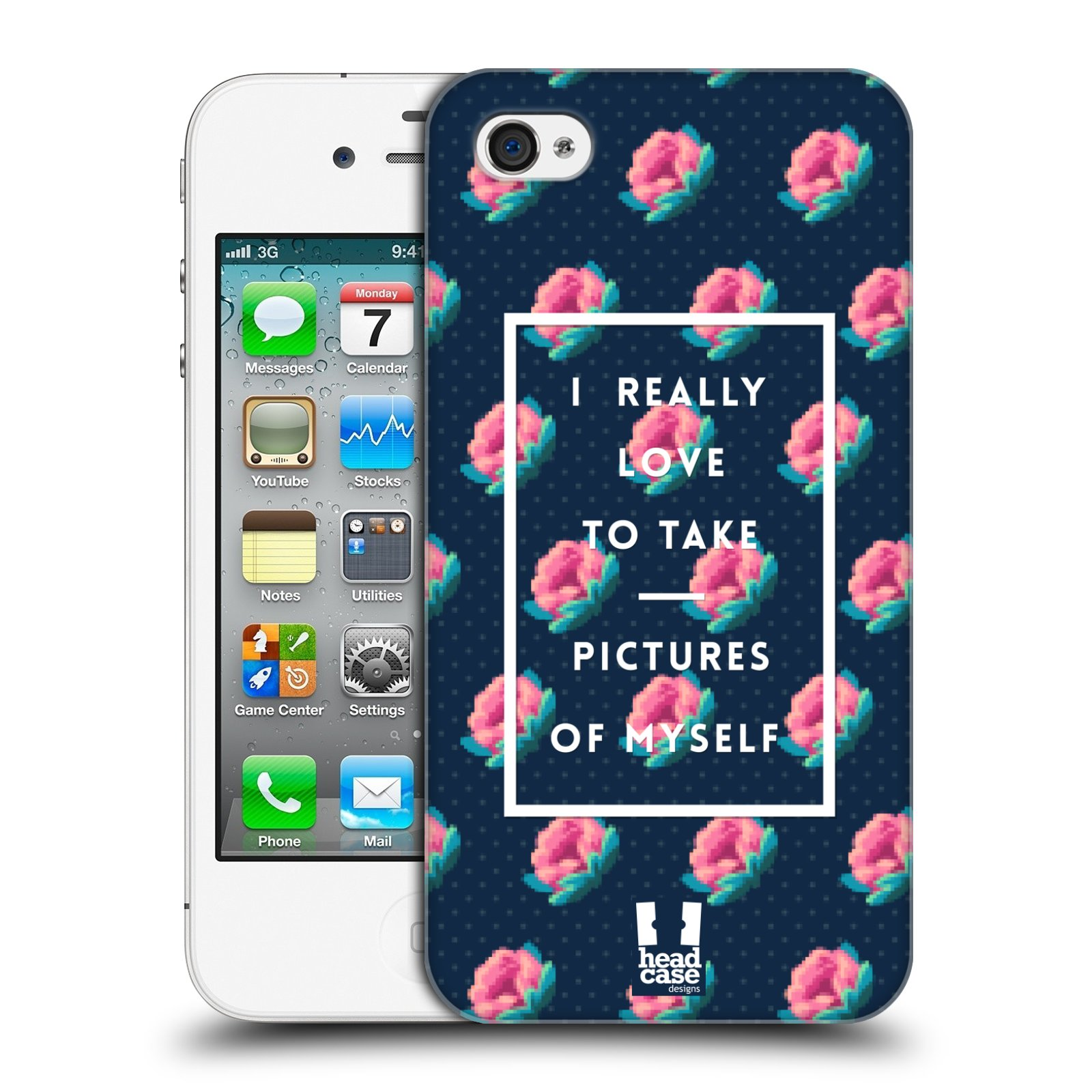 Plastové pouzdro na mobil Apple iPhone 4 a 4S HEAD CASE SELFIE I LOVE