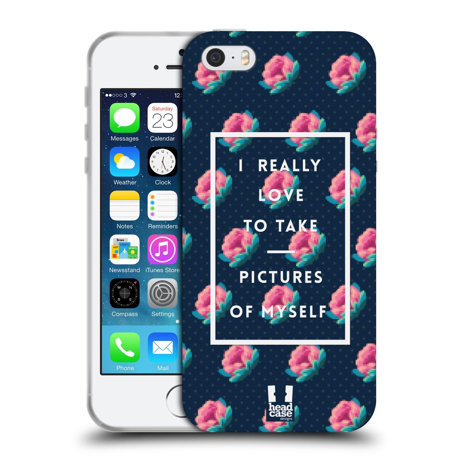 Silikonové pouzdro na mobil Apple iPhone SE, 5 a 5S HEAD CASE SELFIE I LOVE