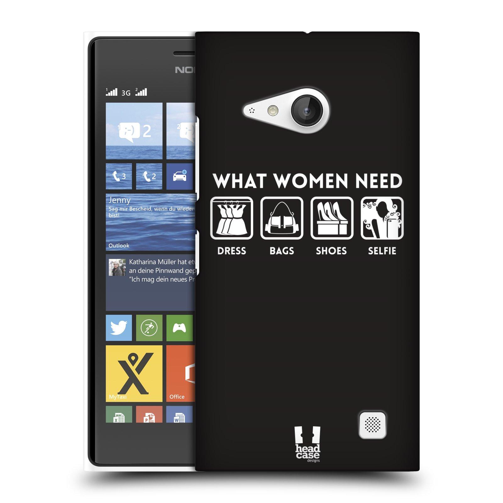 Plastové pouzdro na mobil Nokia Lumia 735 HEAD CASE POTŘEBY ŽENY (Kryt či obal na mobilní telefon Nokia Lumia 735)