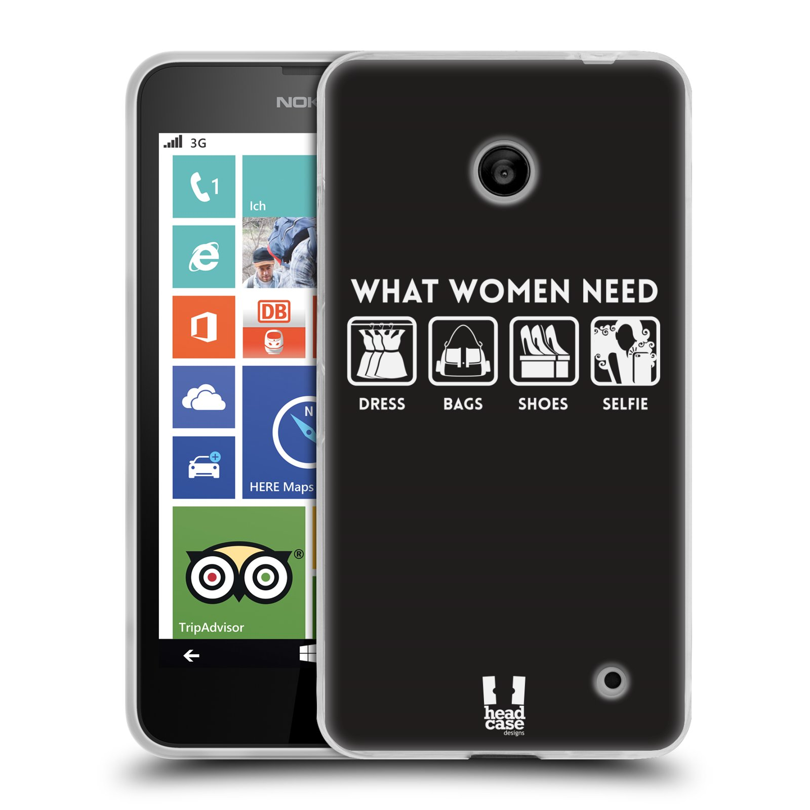 Silikonové pouzdro na mobil Nokia Lumia 630 HEAD CASE POTŘEBY ŽENY (Silikonový kryt či obal na mobilní telefon Nokia Lumia 630 a Nokia Lumia 630 Dual SIM)