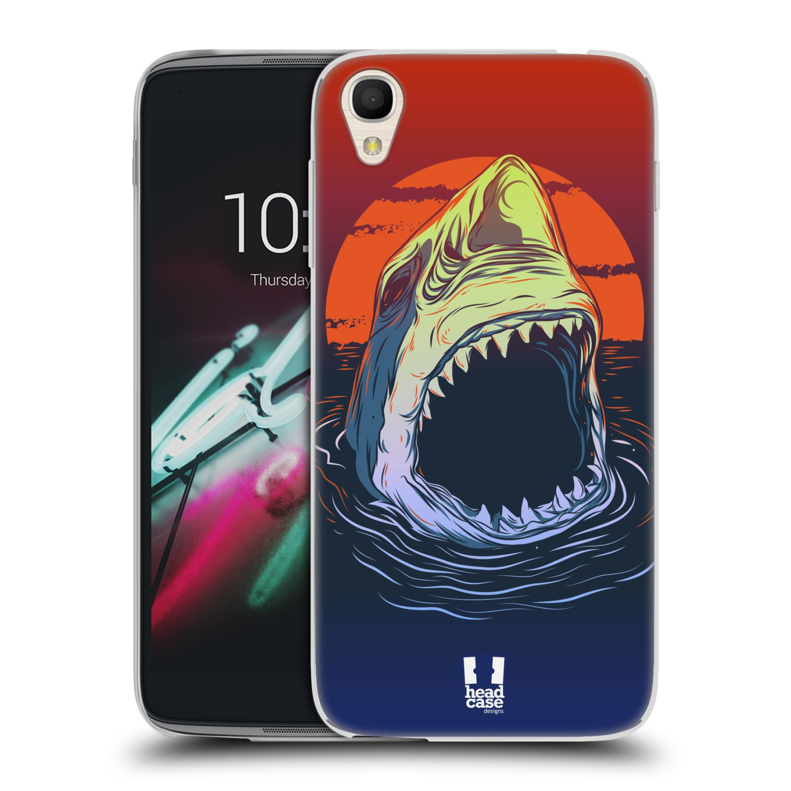 "Silikonové pouzdro na mobil Alcatel One Touch 6039Y Idol 3 HEAD CASE HLADOVÝ ŽRALOK (Silikonový kryt či obal na mobilní telefon Alcatel One Touch Idol 3 OT-6039Y s 4,7"" displejem)"