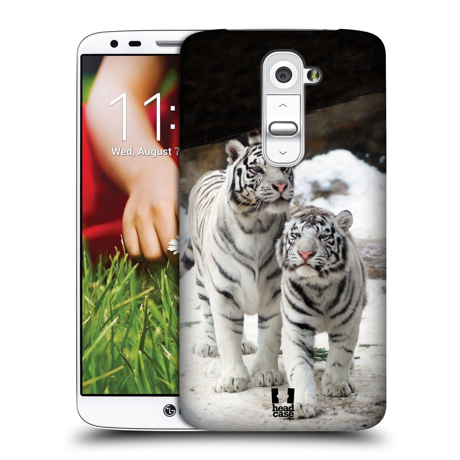 Plastové pouzdro na mobil LG G2 HEAD CASE BÍLÍ TYGŘI (Kryt či obal na mobilní telefon LG G2 D802)