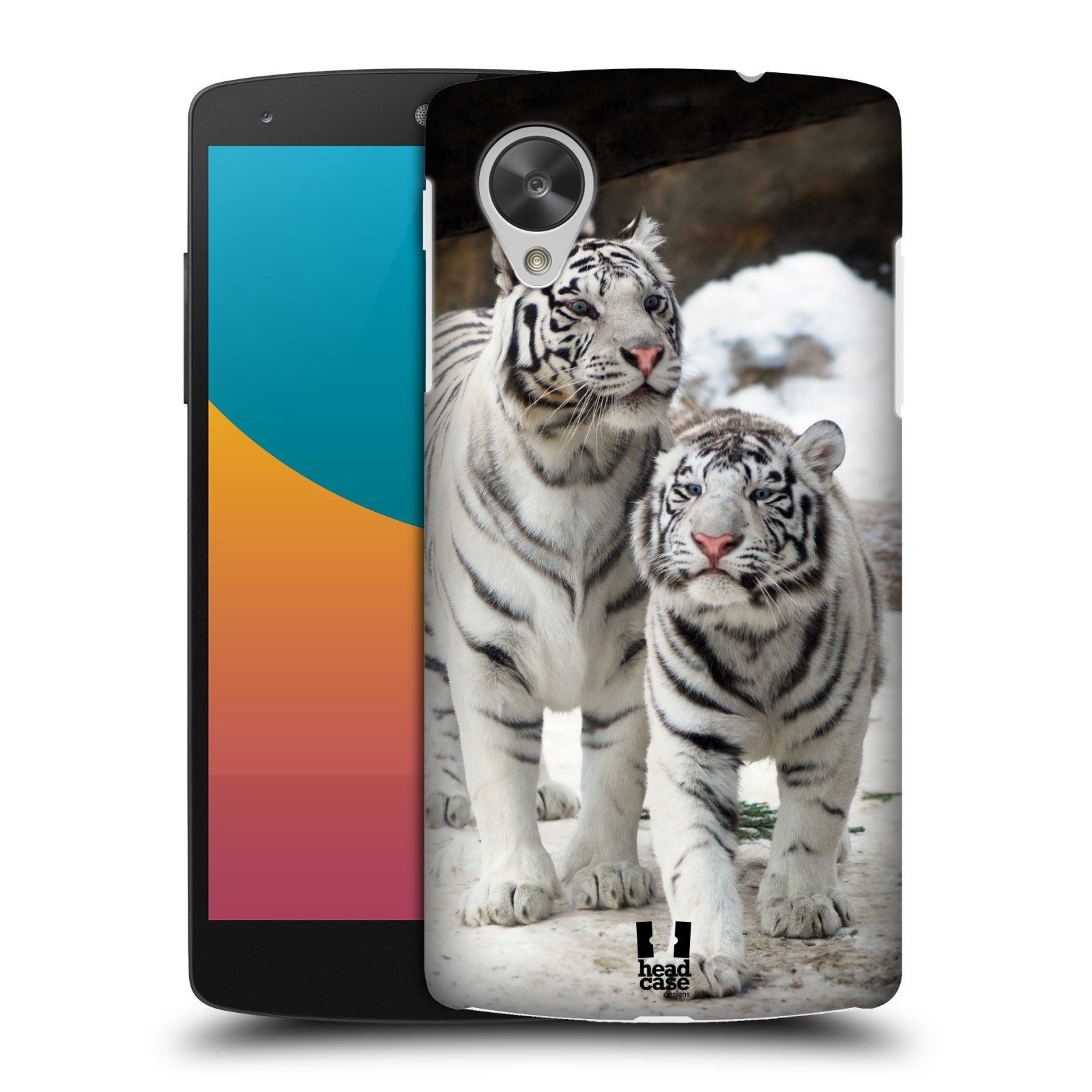 Plastové pouzdro na mobil LG Nexus 5 HEAD CASE BÍLÍ TYGŘI (Kryt či obal na mobilní telefon LG Google Nexus 5 D821)